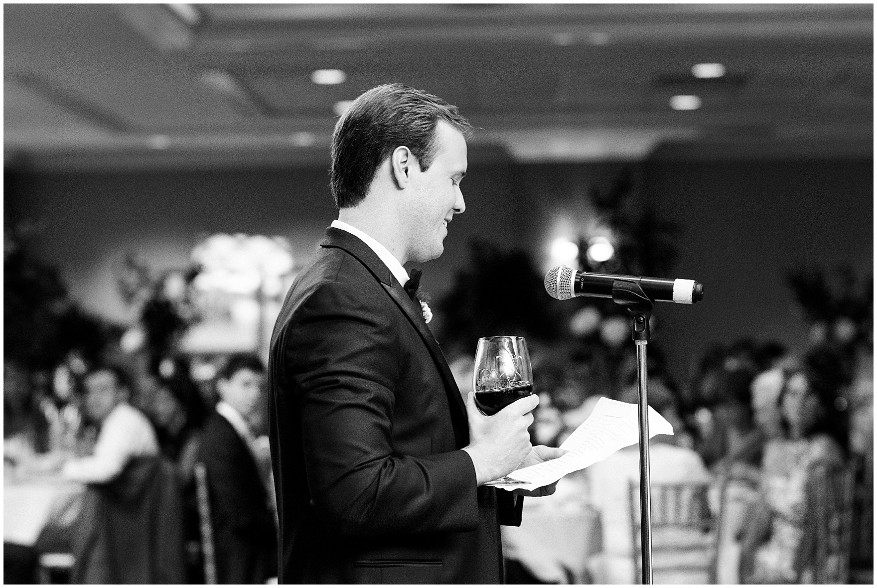 The best man gives a toast during a Butterfield Country Club wedding.