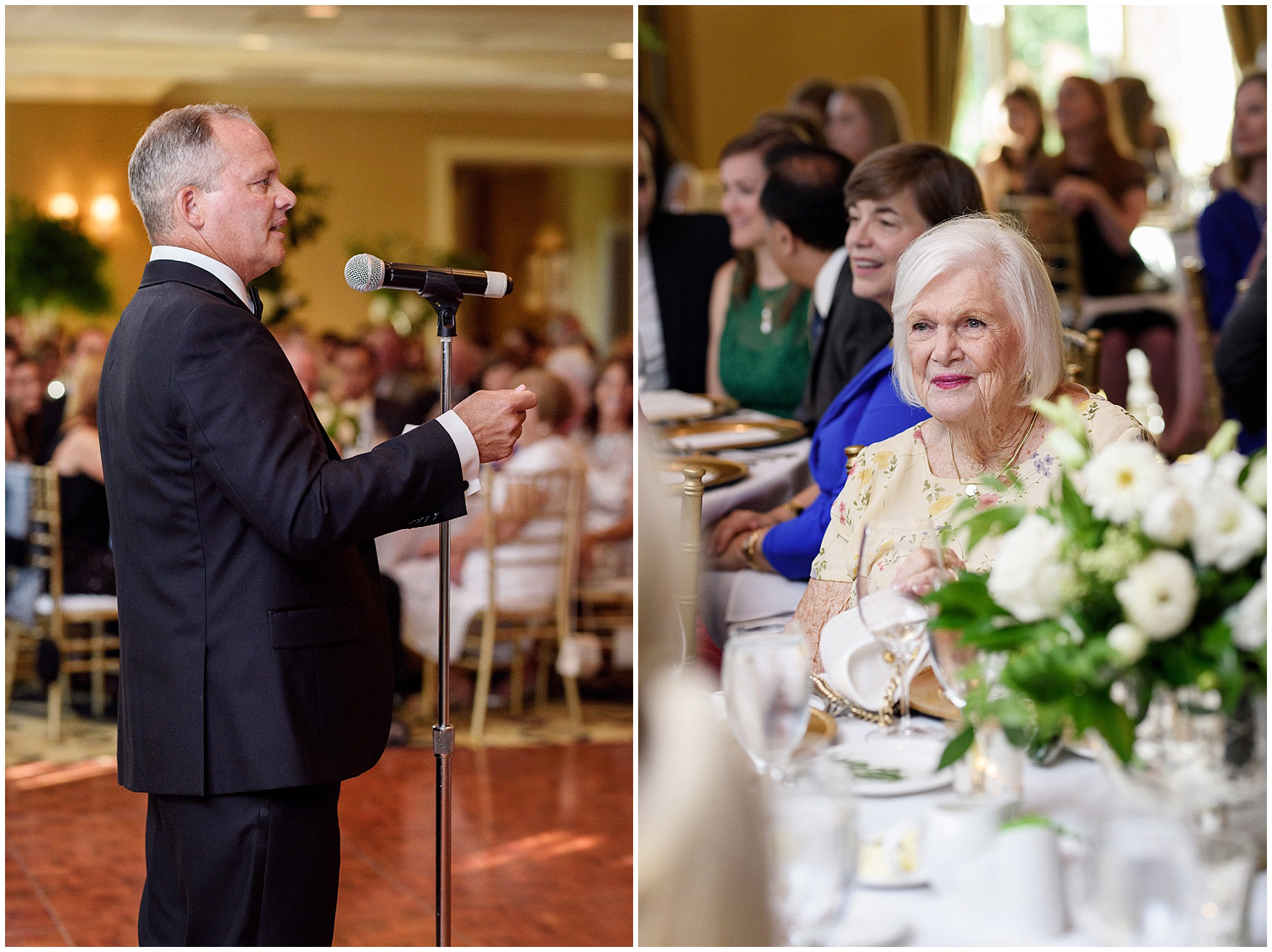 The father of the bride speaks at a Butterfield Country Club wedding.