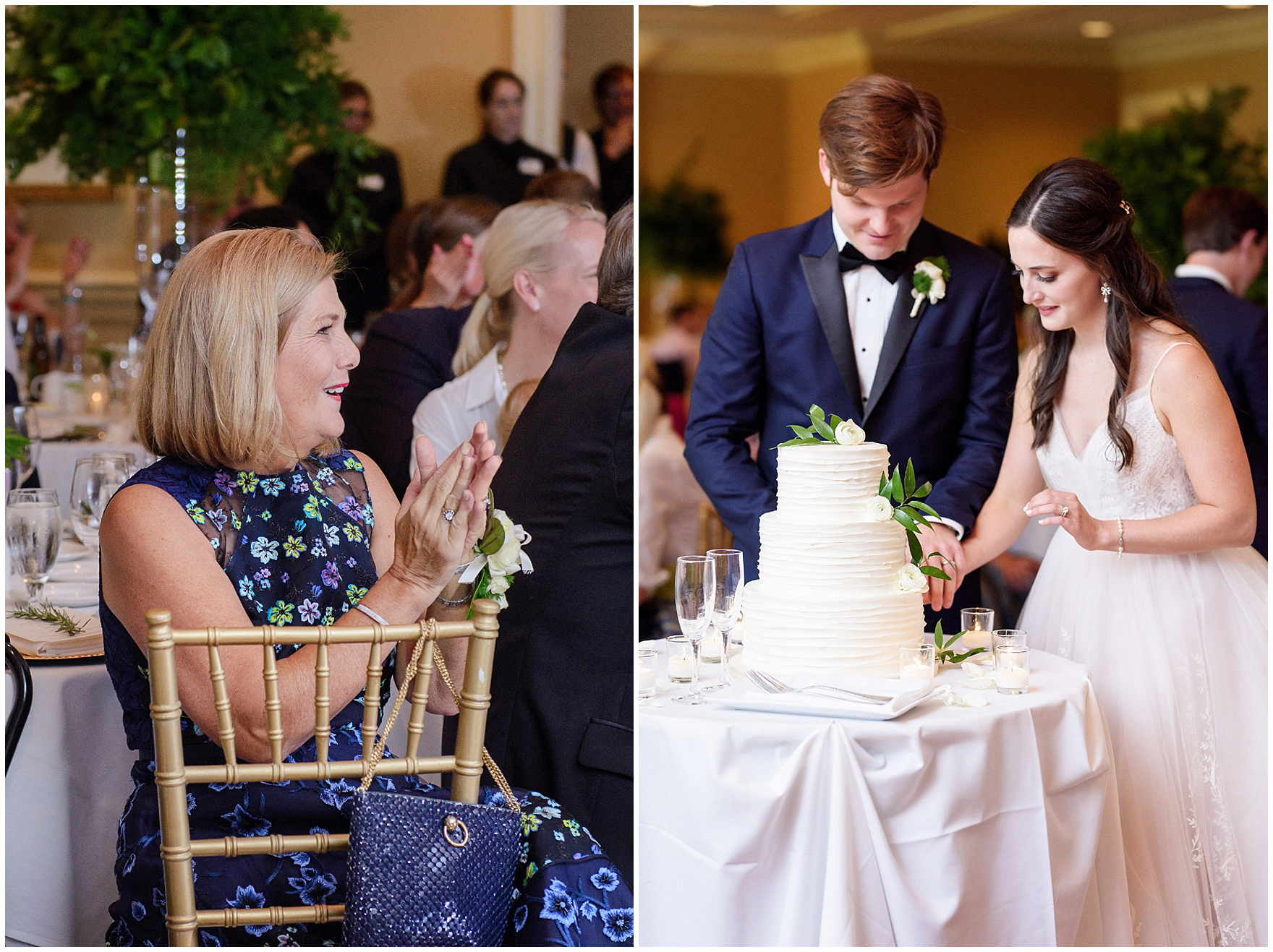 The bride and groom cut the cake at their Butterfield Country Club wedding.