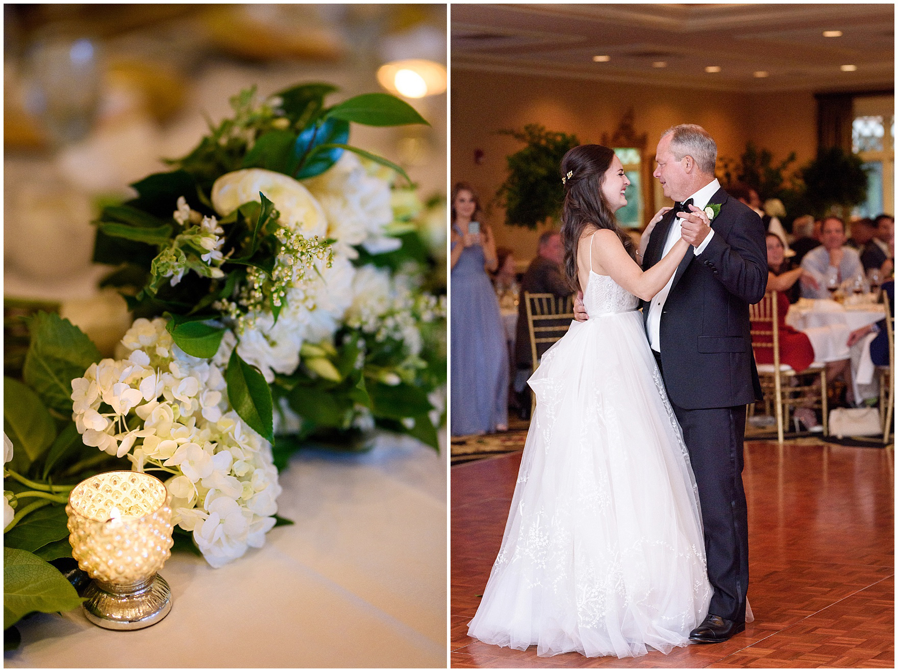 The bride dances with her father at a Butterfield Country Club wedding.