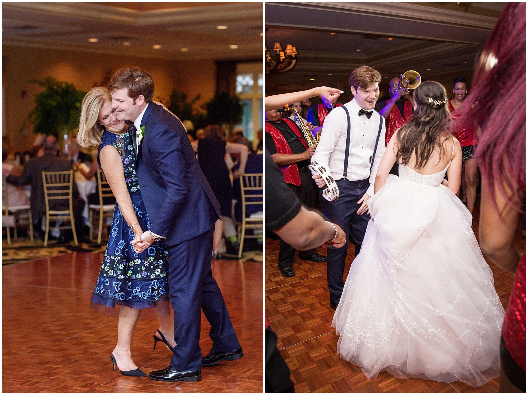The groom dances with his mother at a Butterfield Country Club wedding.