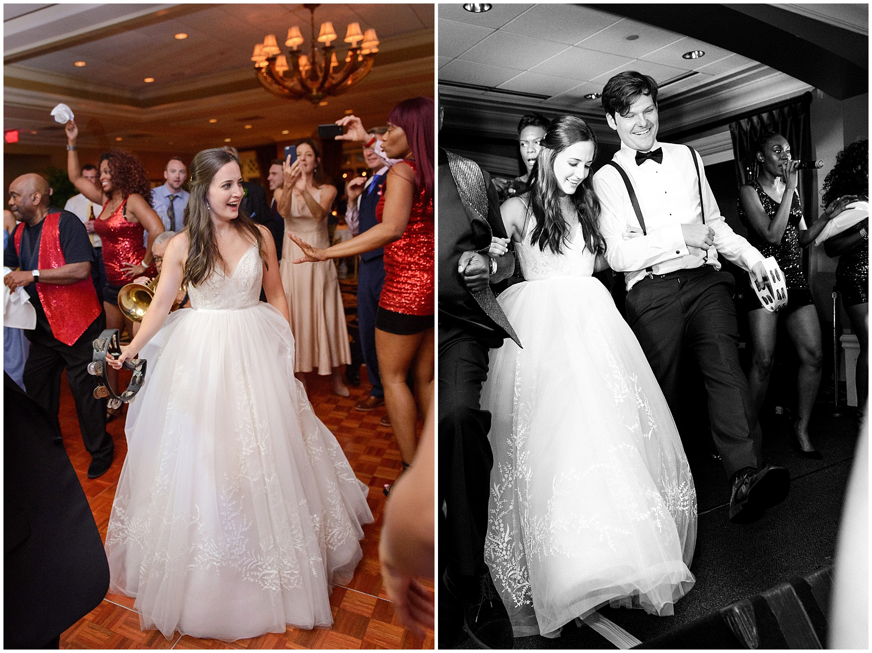 The bride and groom dance to the music of the Gentlemen of Leisure band at a Butterfield Country Club wedding.