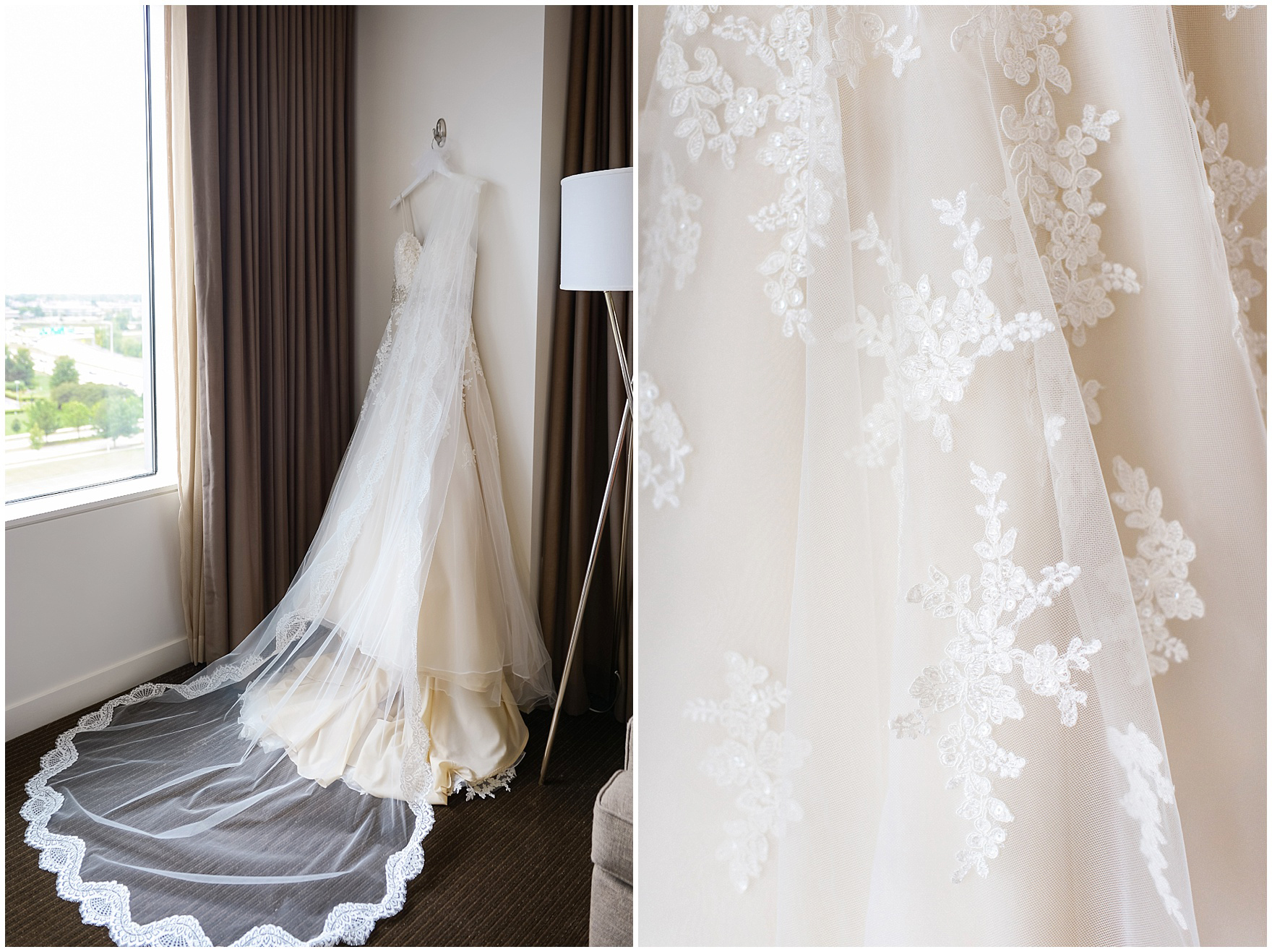 A bridal gown and veil with lace details hangs in the hotel suite before a Hotel Arista Naperville wedding.