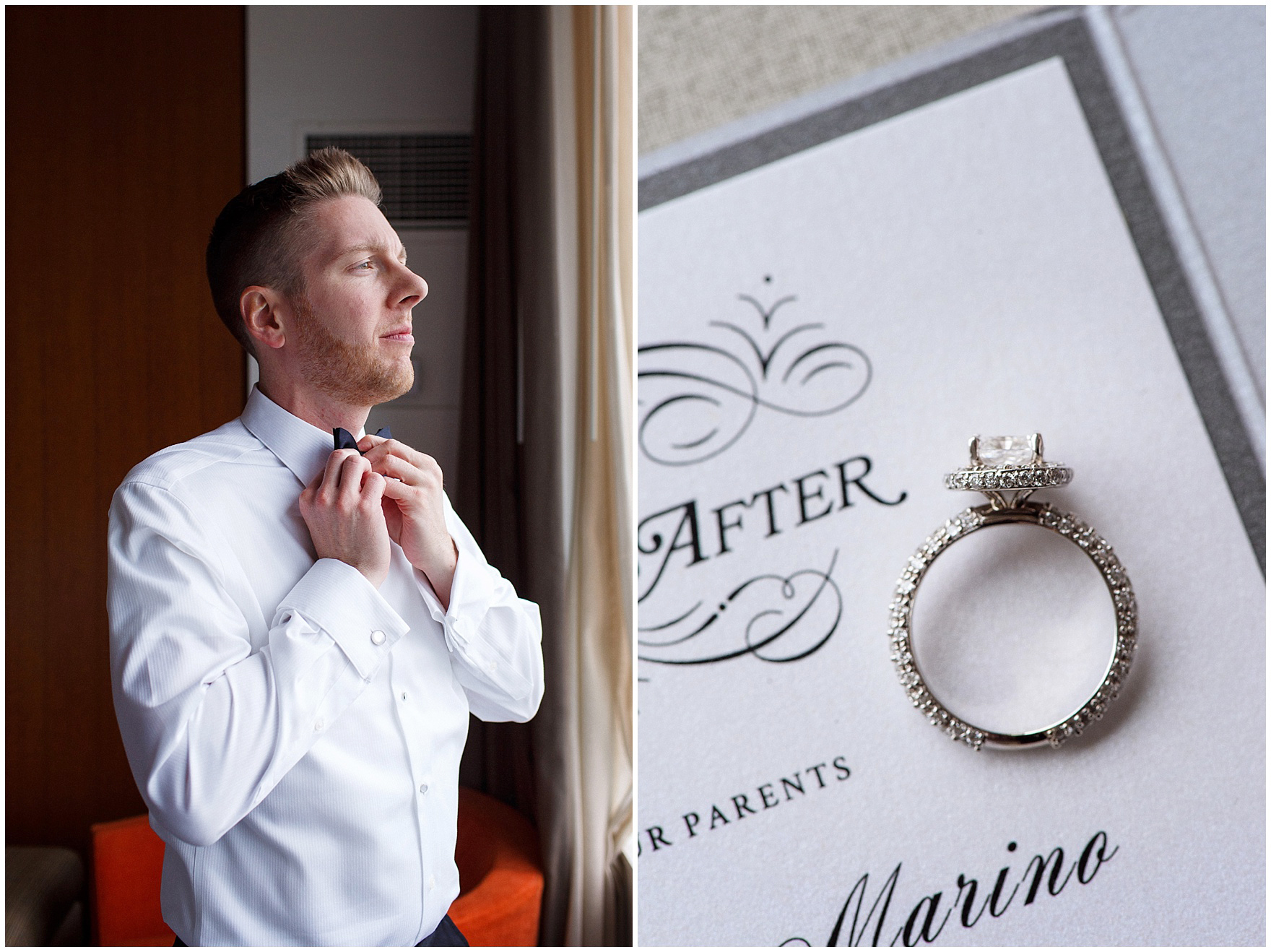 The groom ties his bow tie before a Hotel Arista Naperville wedding.