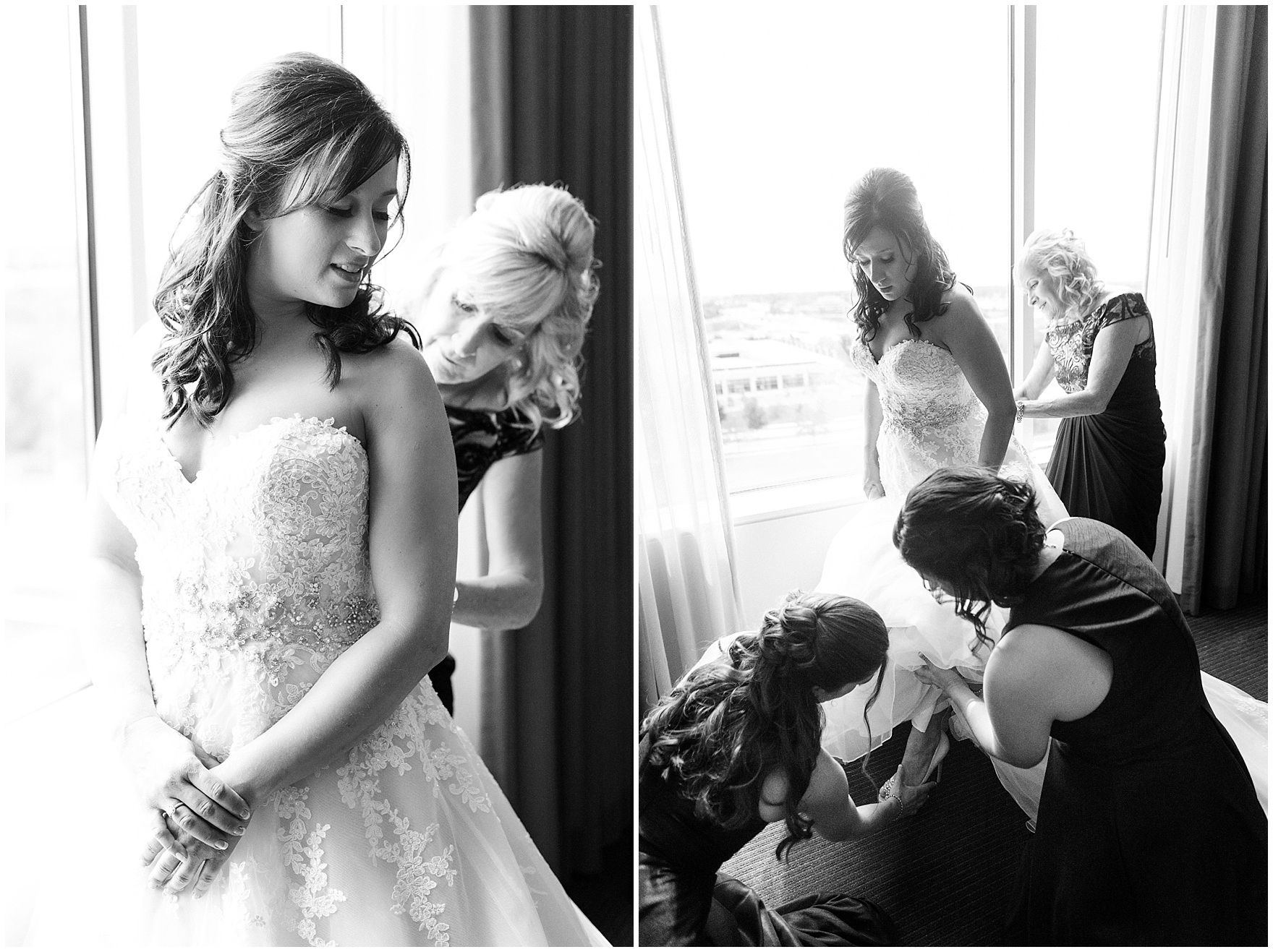 The bride gets ready for a Hotel Arista Naperville wedding.