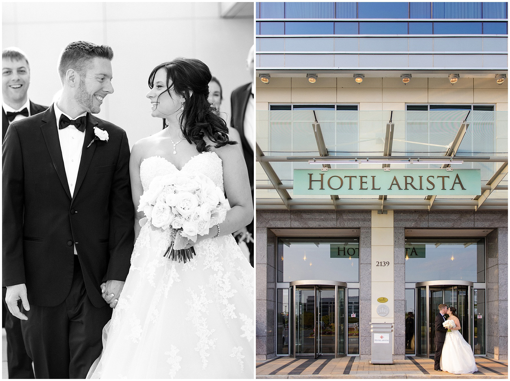 Rooftop portraits during a Hotel Arista Naperville wedding.