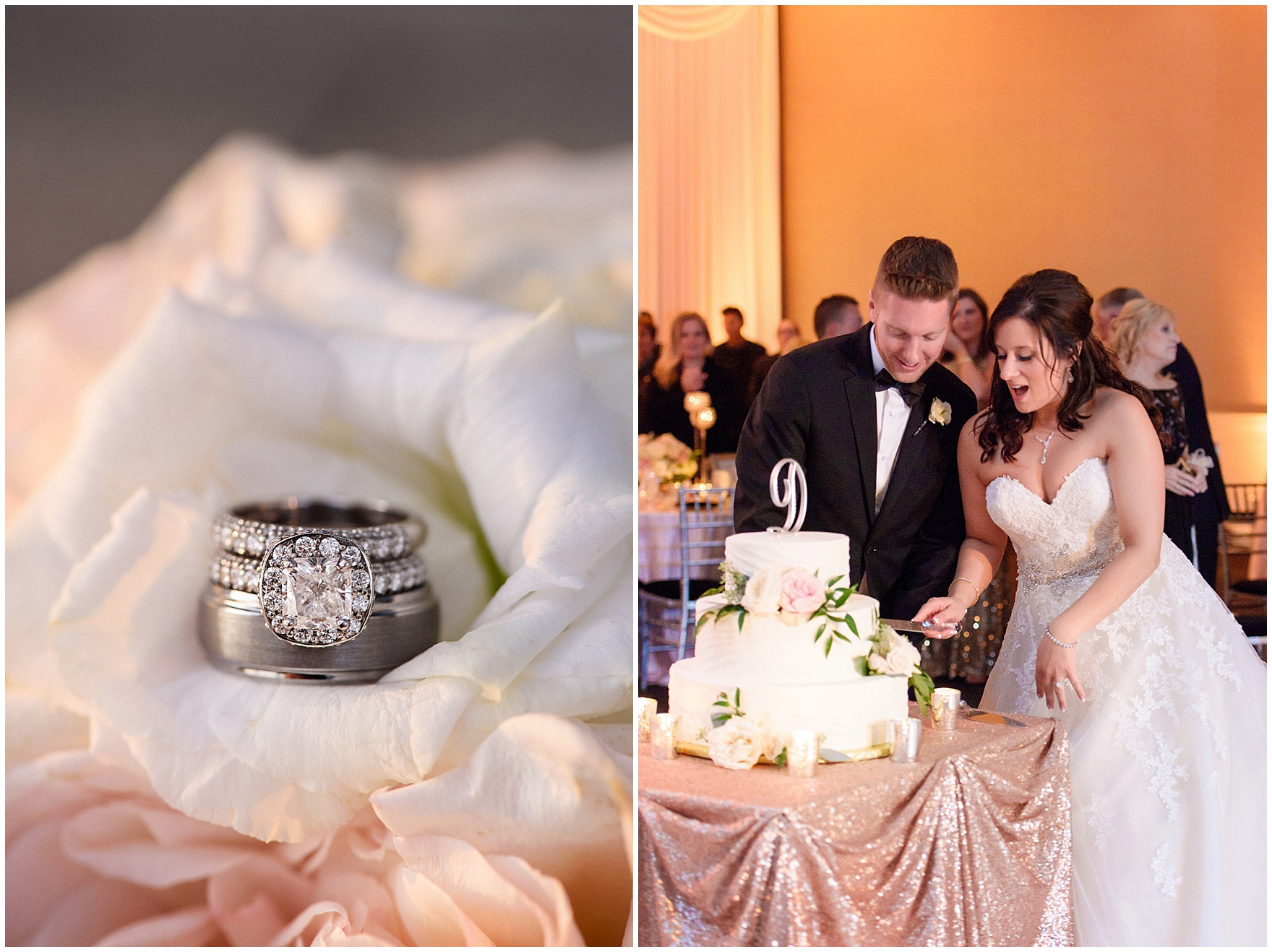 An elegant crystal and candlelit reception for a Hotel Arista Naperville wedding.