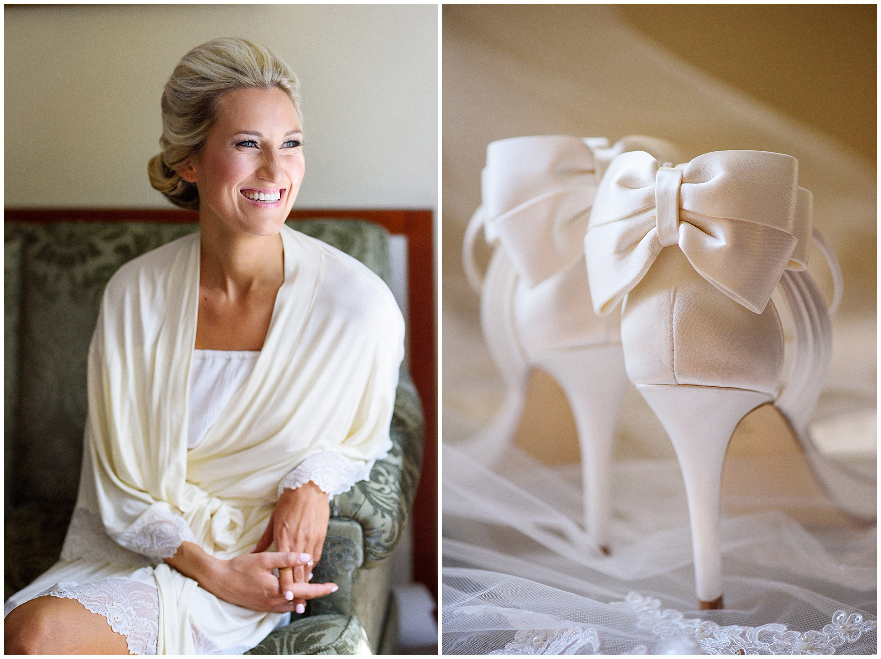 A bride gets ready for a St. Josephs Downers Grove Pinstripes Oak Brook, Illinois wedding.