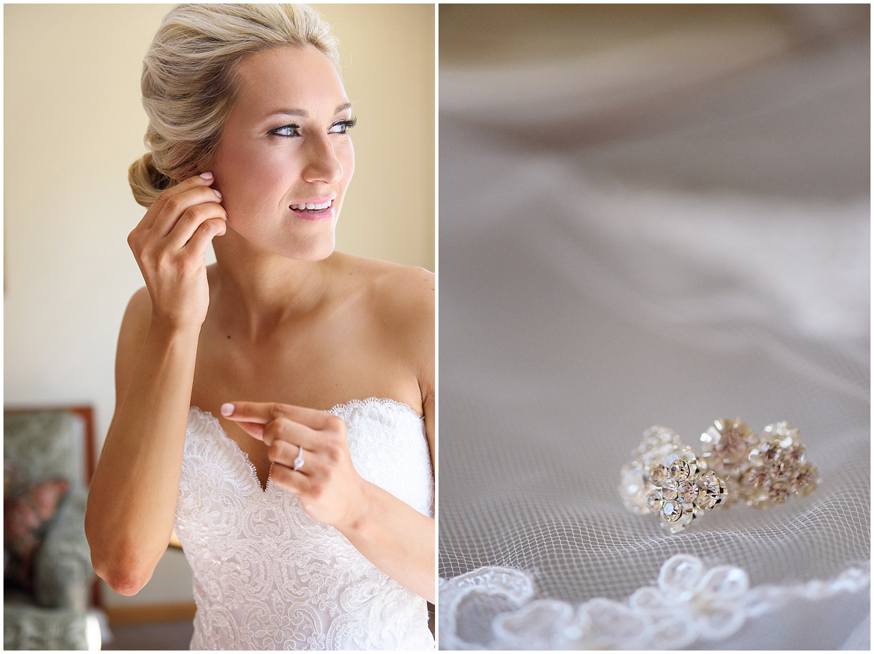The bride gets ready for a St. Josephs Downers Grove Pinstripes Oak Brook, Illinois wedding.