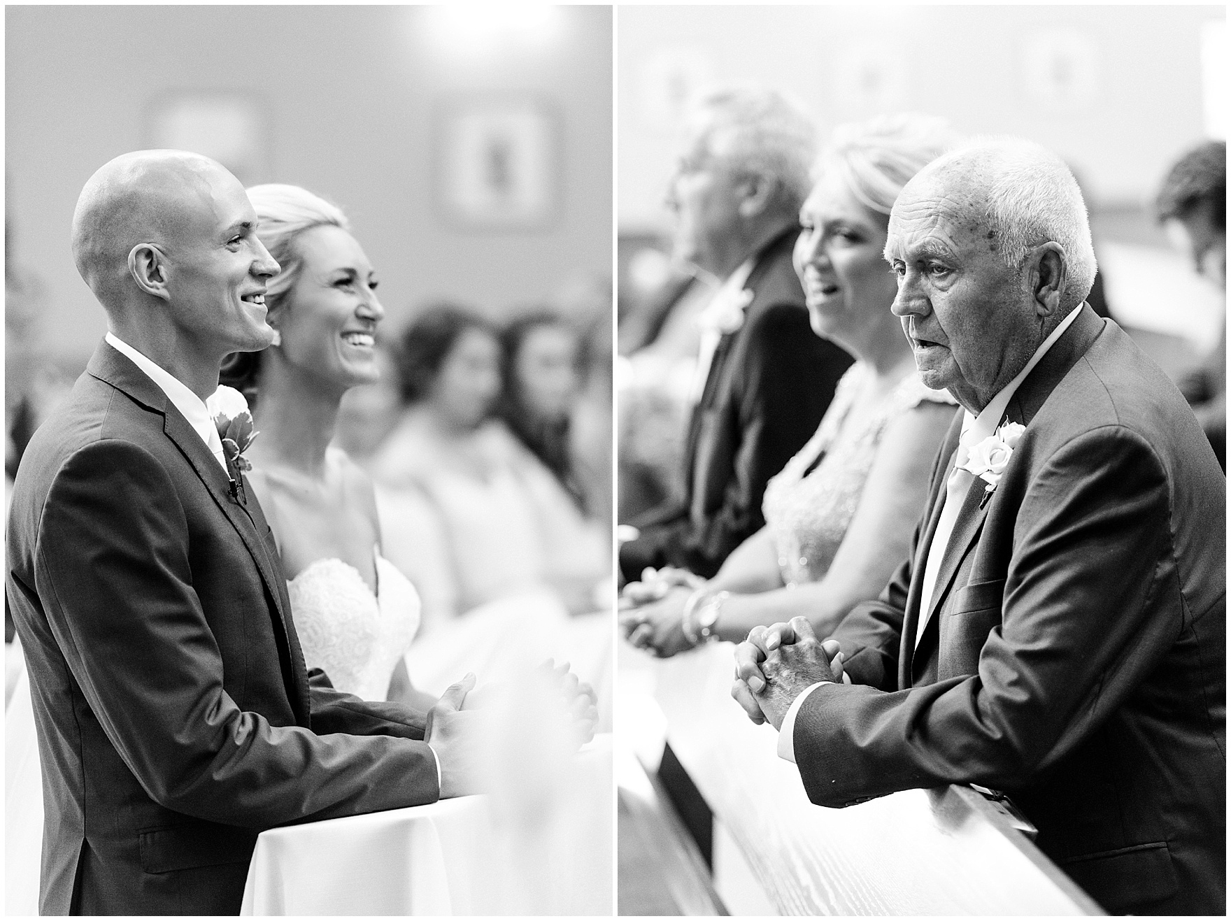 The bride and groom laugh during the ceremony for a St. Josephs Downers Grove Pinstripes Oak Brook, Illinois wedding.