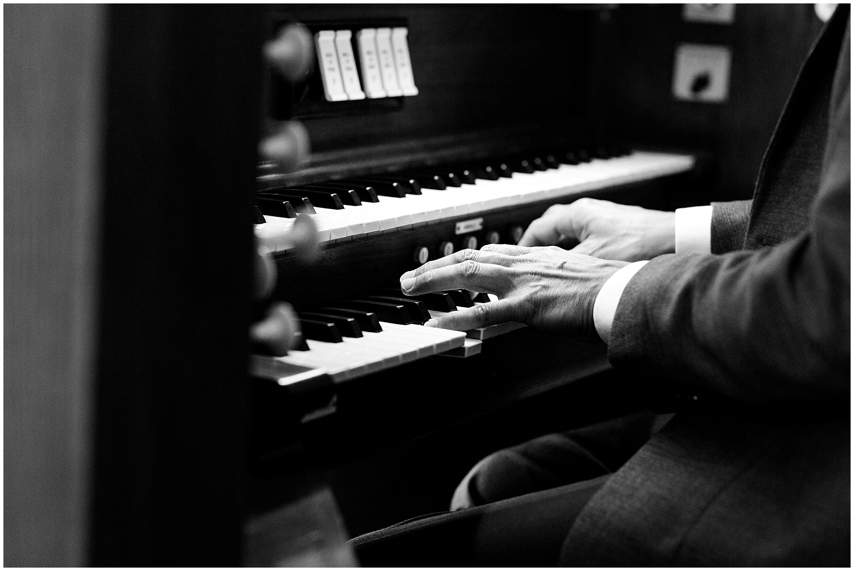 A pianist plays during the ceremony for a St. Josephs Downers Grove Pinstripes Oak Brook, Illinois wedding.