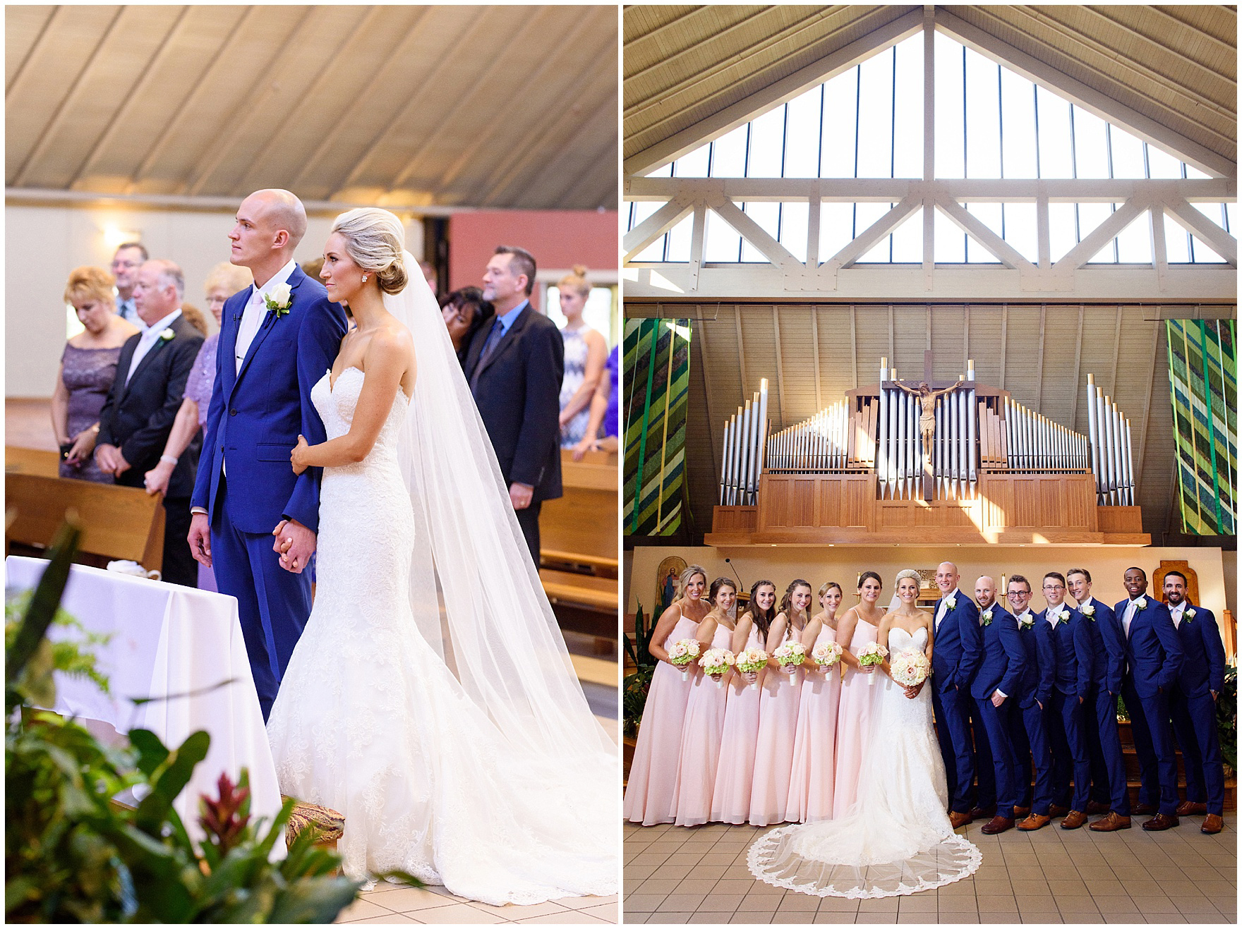 A moment during the ceremony for a St. Josephs Downers Grove Pinstripes Oak Brook, Illinois wedding.