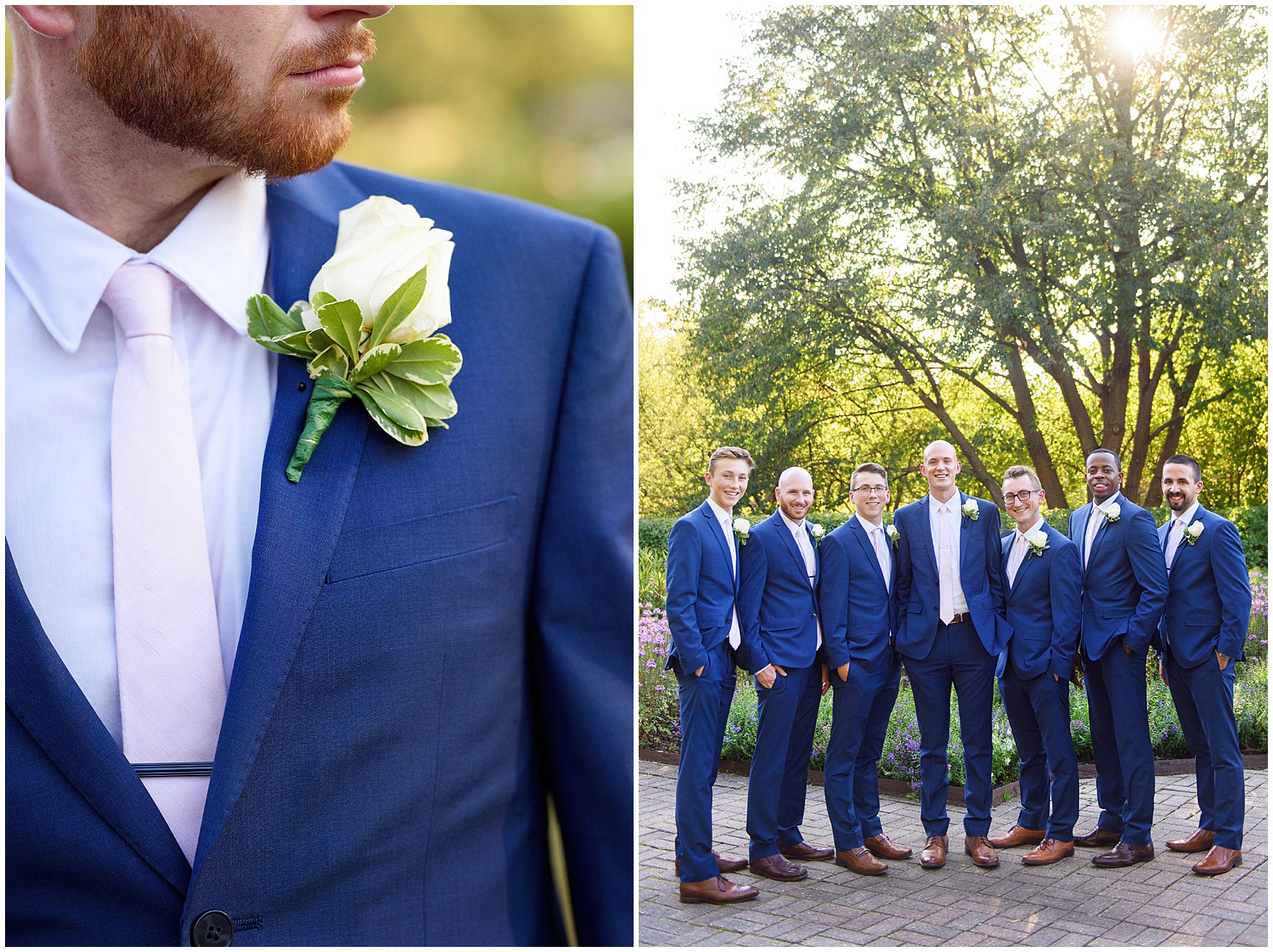 The groomsmen pose for portraits at Cantigny Park for a St. Josephs Downers Grove Pinstripes Oak Brook, Illinois wedding.