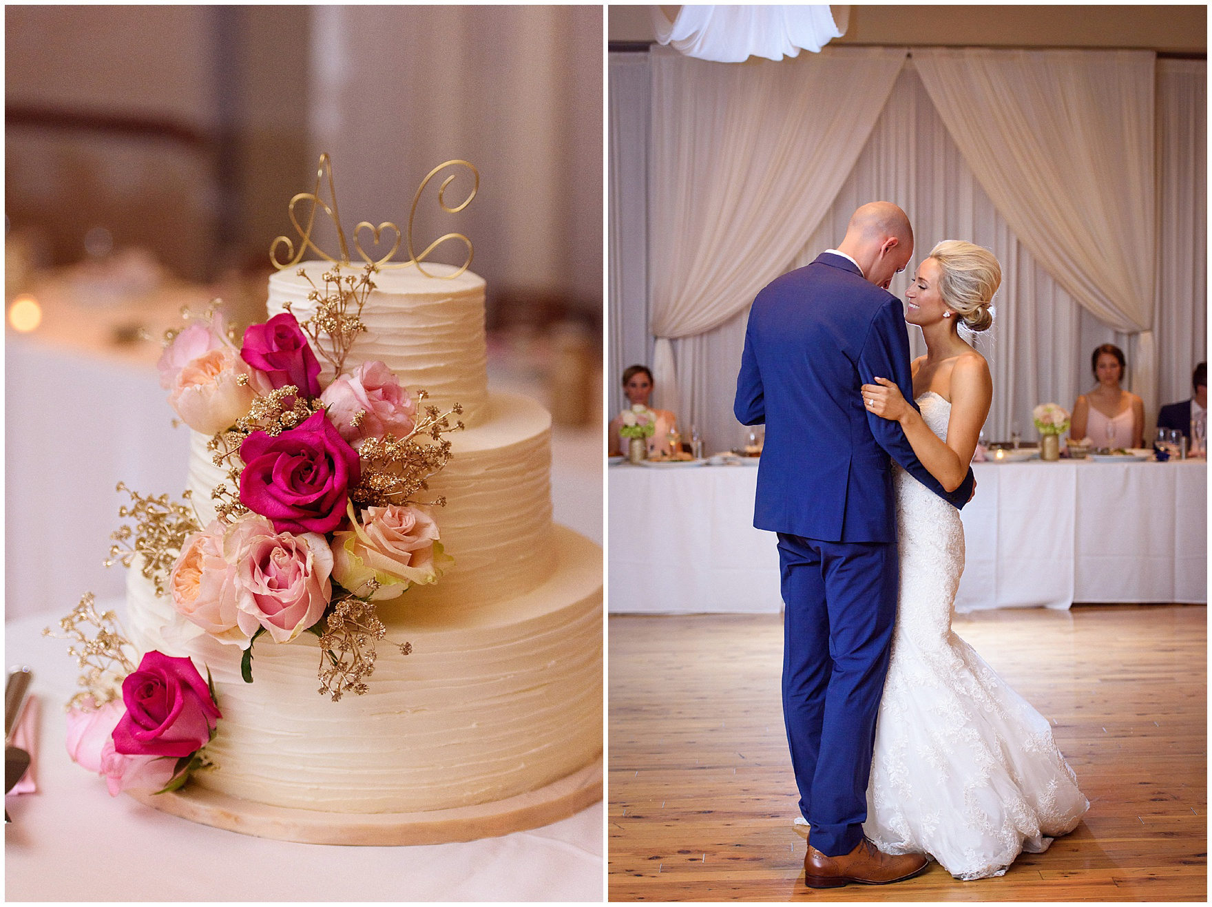 The bride and groom share their first dance for a St. Josephs Downers Grove Pinstripes Oak Brook, Illinois wedding.