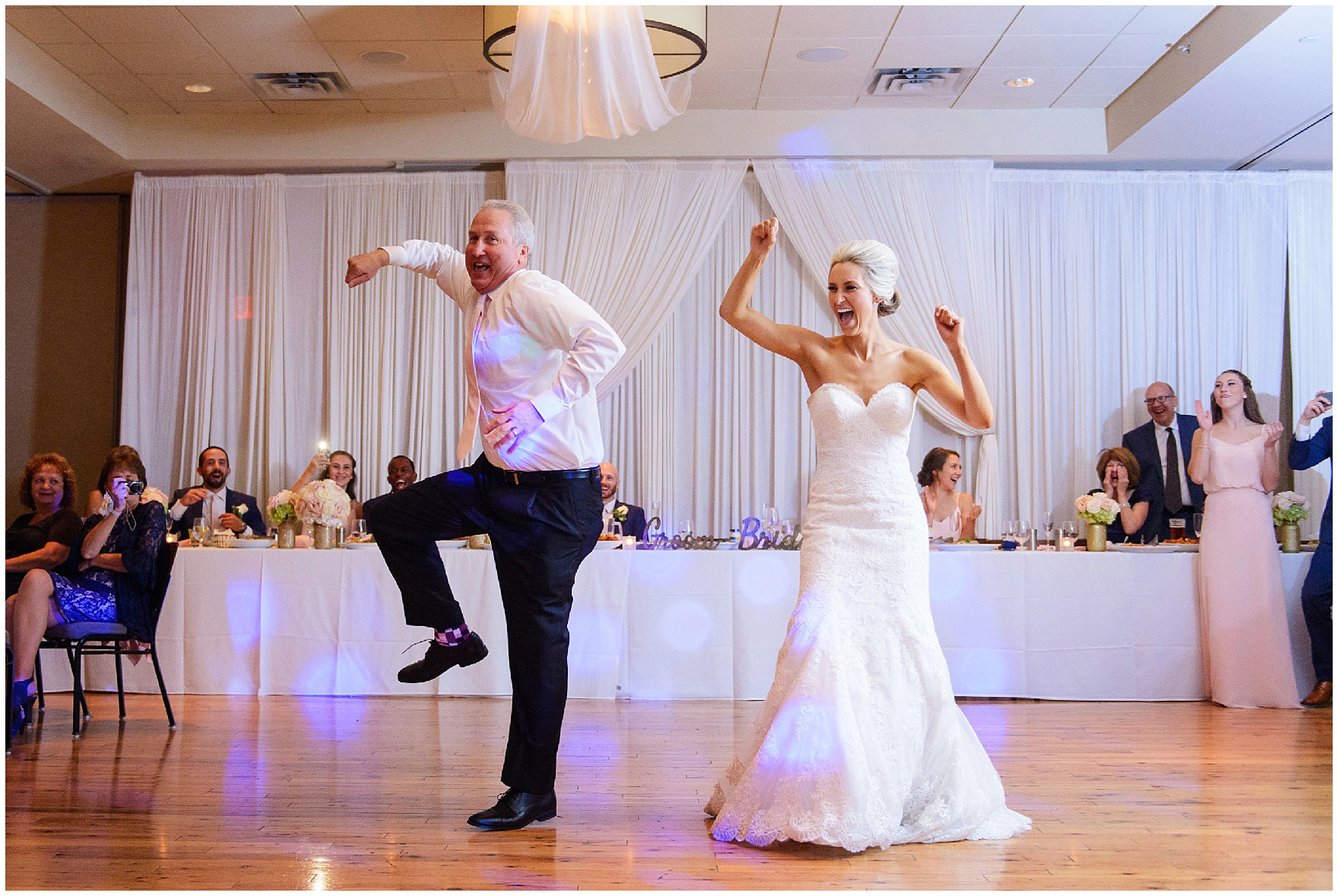 The bride dances with her father for a St. Josephs Downers Grove Pinstripes Oak Brook, Illinois wedding.