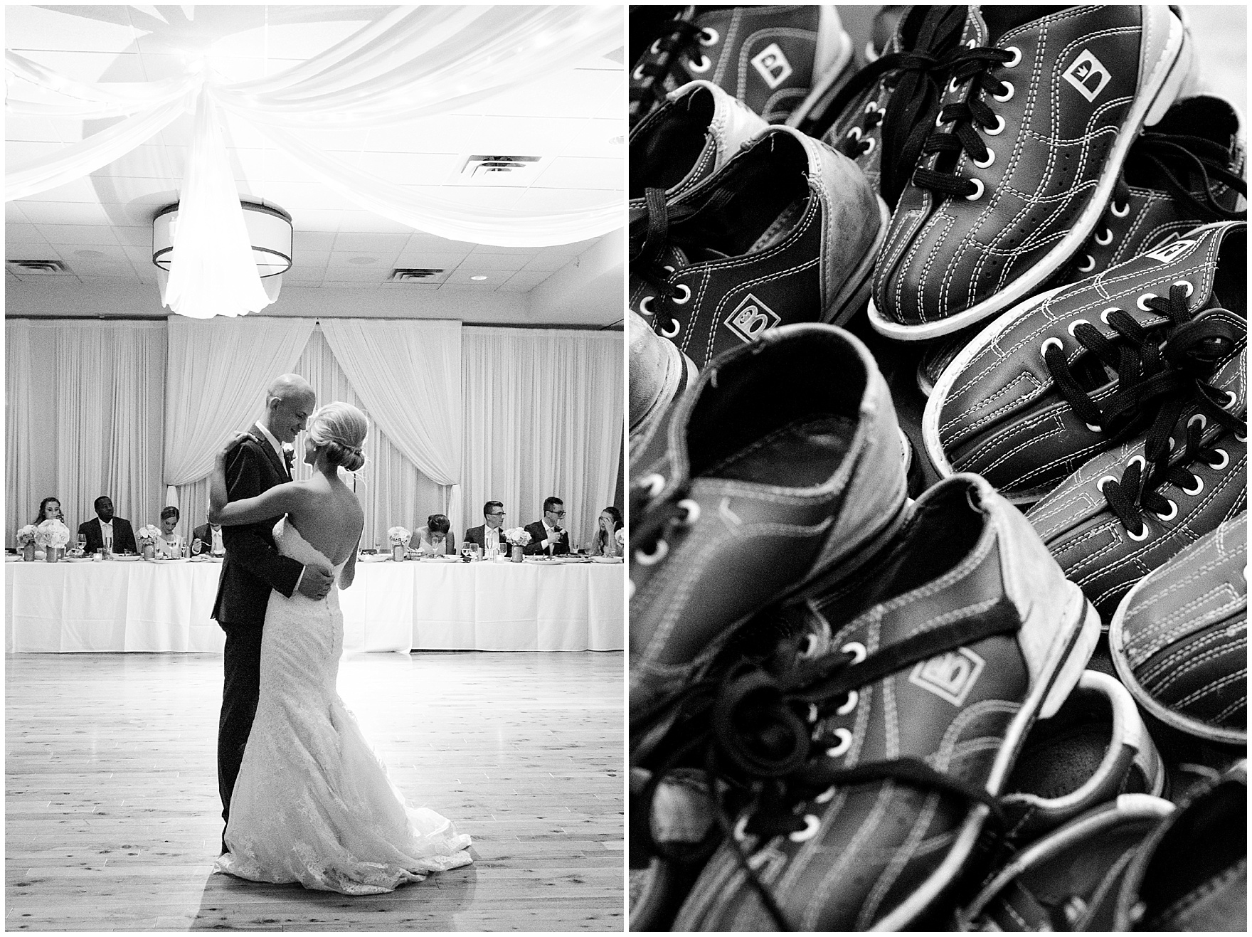 The bride and groom dance during a St. Josephs Downers Grove Pinstripes Oak Brook, Illinois wedding.