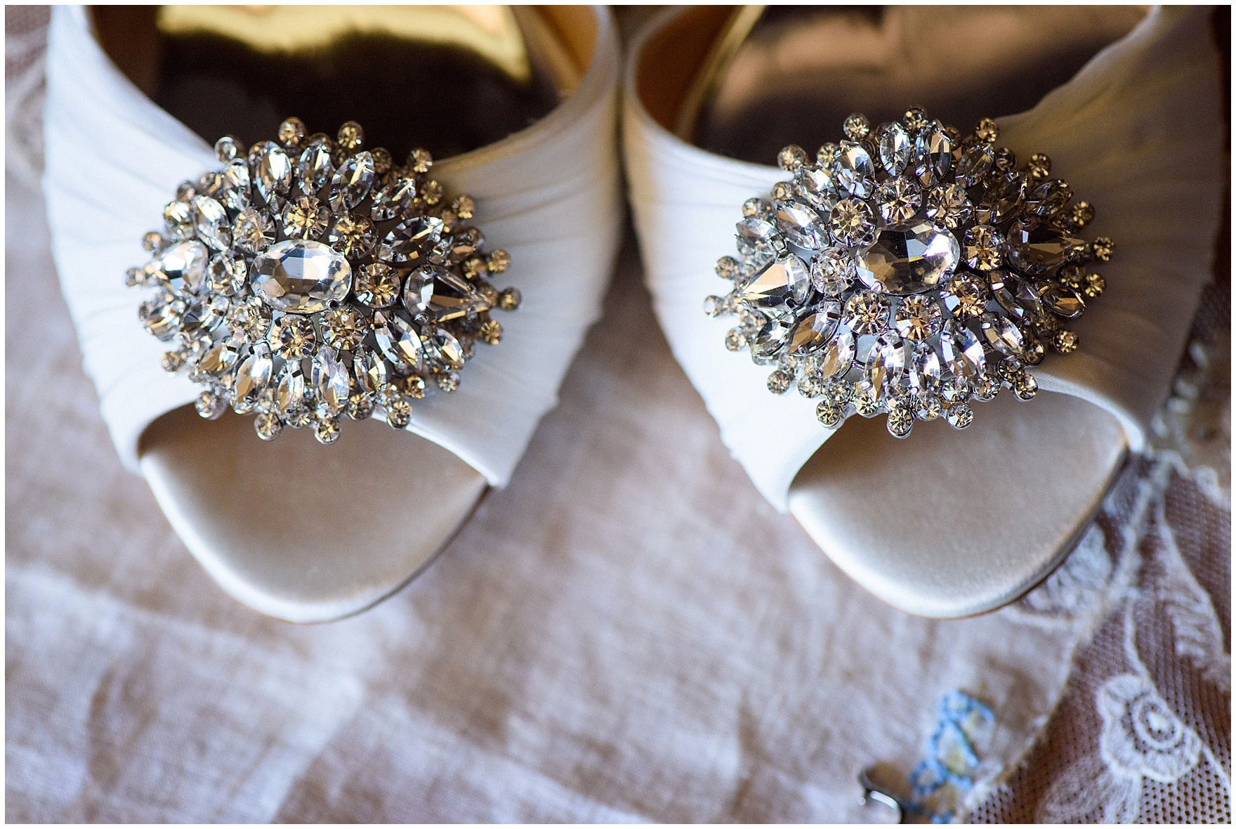 Detail of crystal D'Orsay pumps before a Glen Club Glenview Illinois wedding.