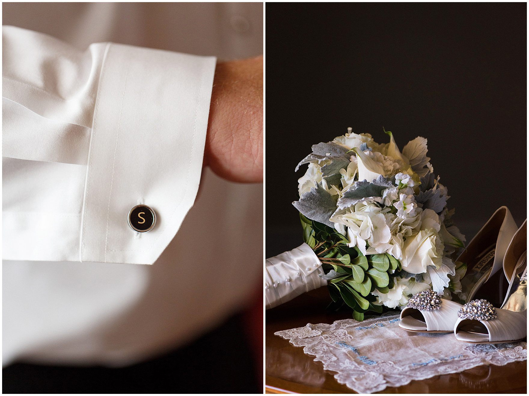 Details of the groom's monogrammed cufflinks and the bride's bouquet before a Glen Club Glenview Illinois wedding.