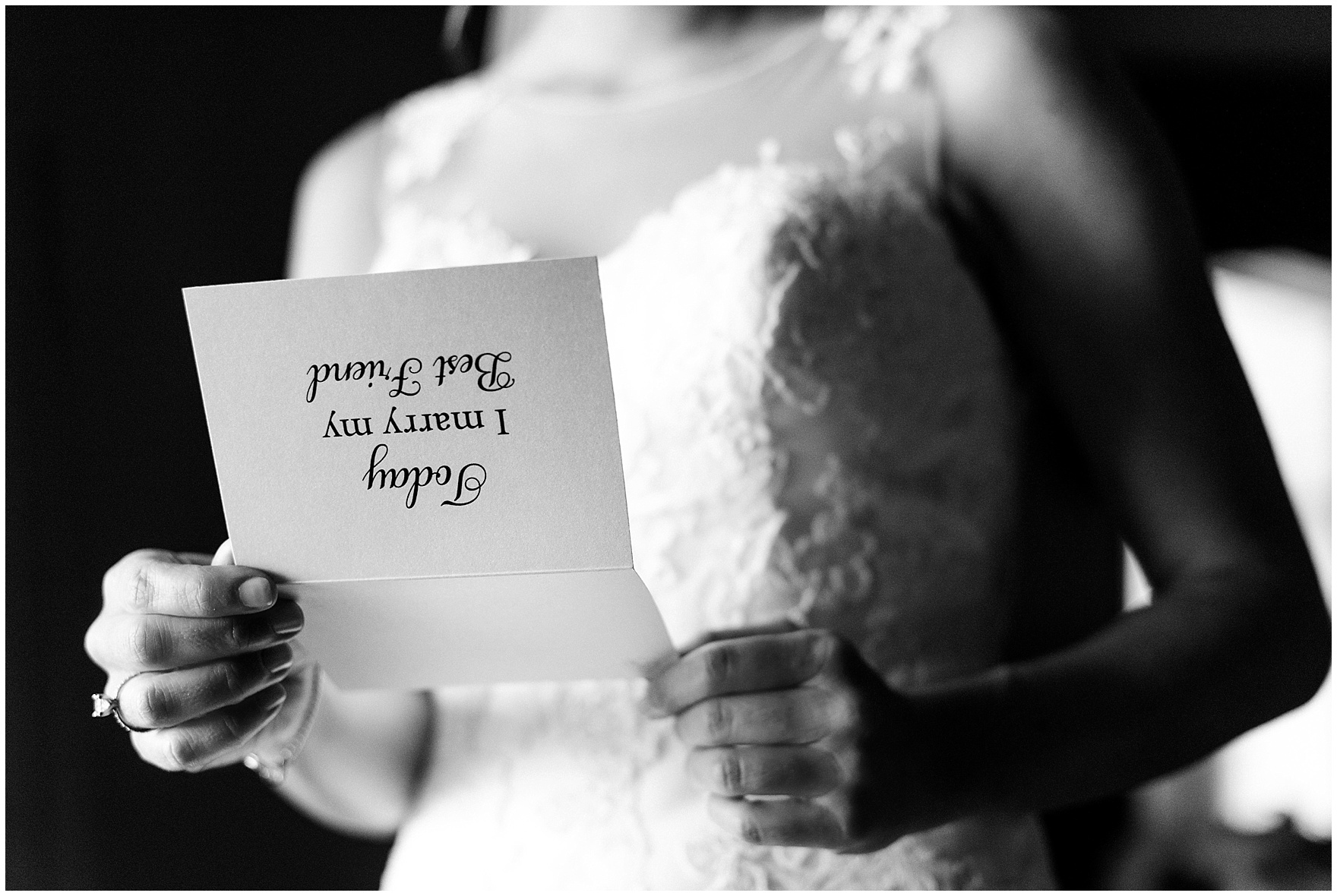 The bride reads a letter from her groom before a Glen Club Glenview Illinois wedding.