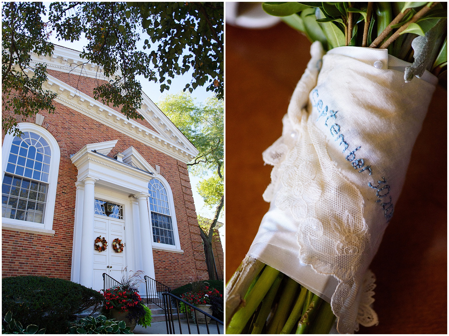 The bride's bouquet is wrapped in a hand-embroidered handkerchief before a Glen Club Glenview Illinois wedding.
