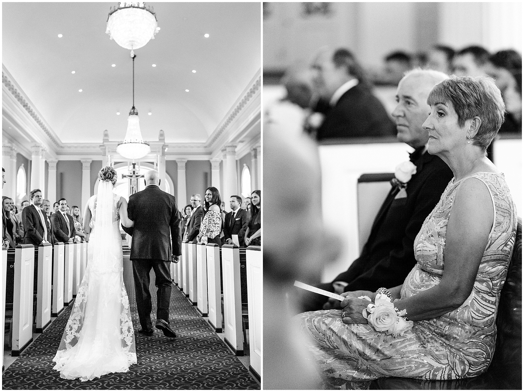 The bride and her father walk down the aisle during a Glen Club Glenview Illinois wedding.