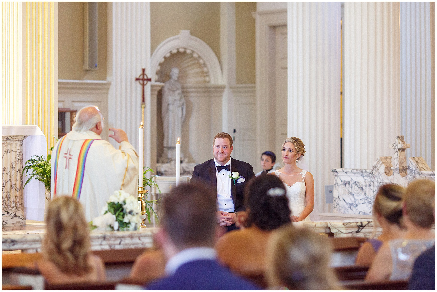 The bride and groom during the ceremony for a Glen Club Glenview Illinois wedding.