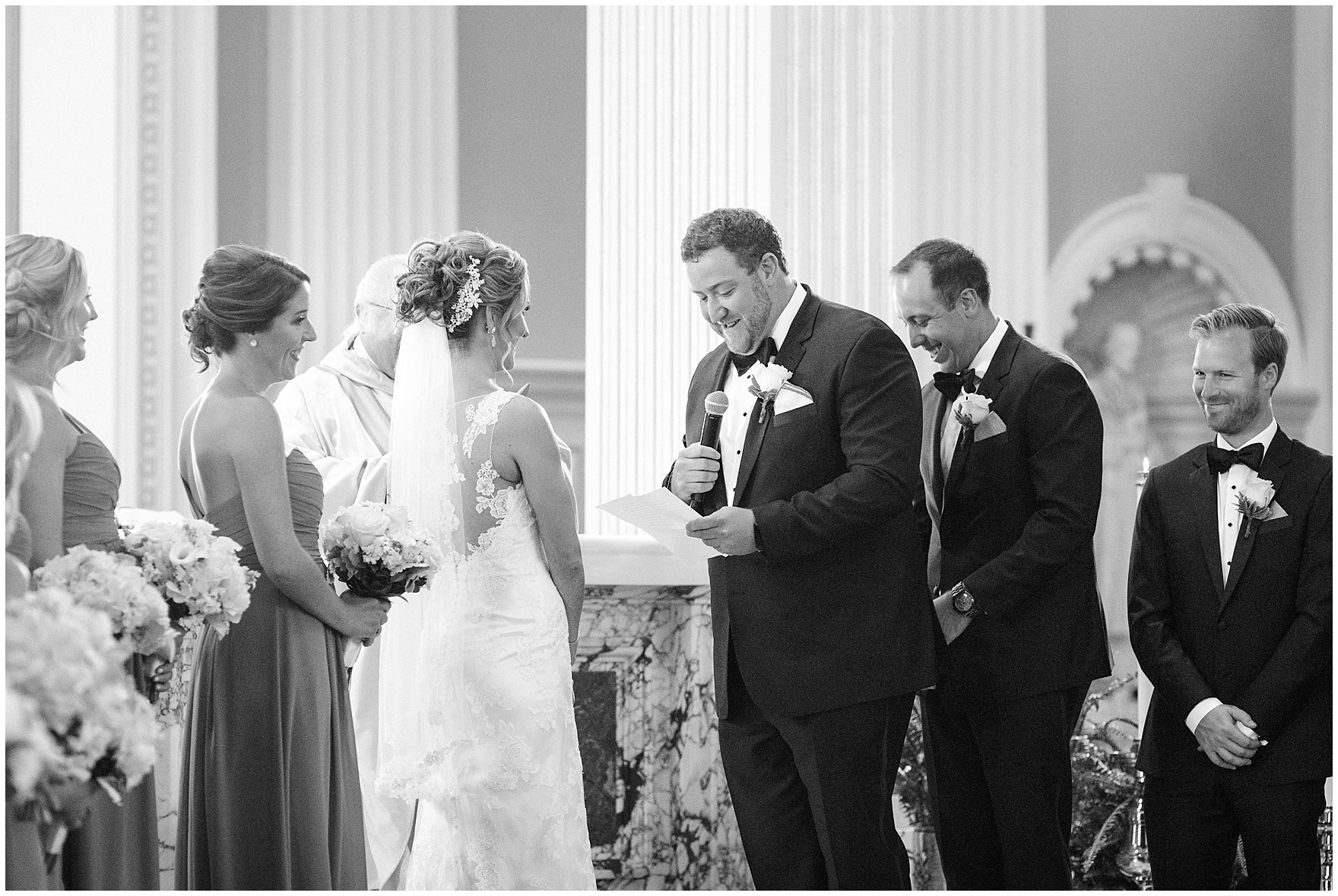 The bride and groom exchange vows during a Glen Club Glenview Illinois wedding.