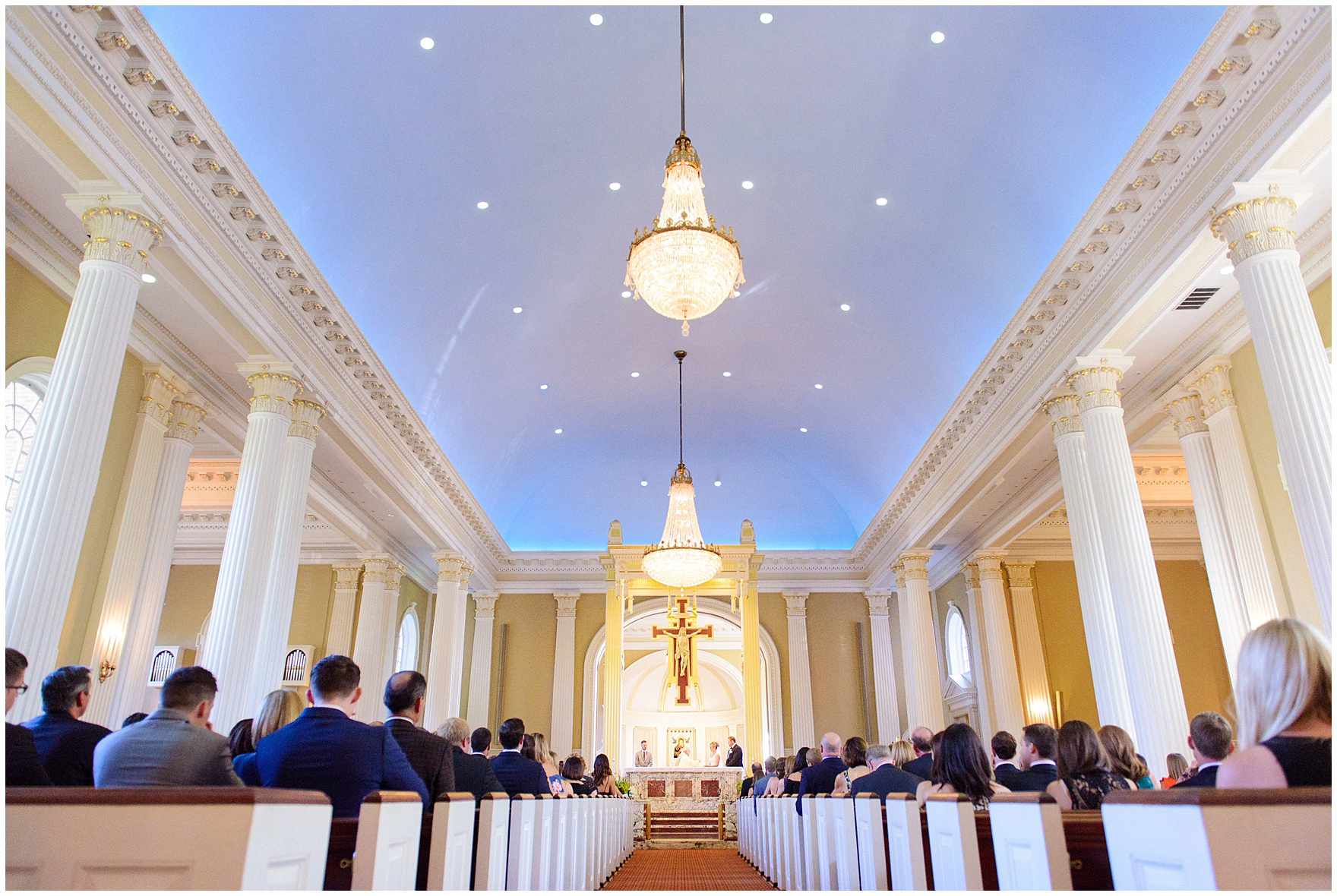 The interior of Our Lady of Perpetual Hope during a Glen Club Glenview Illinois wedding.