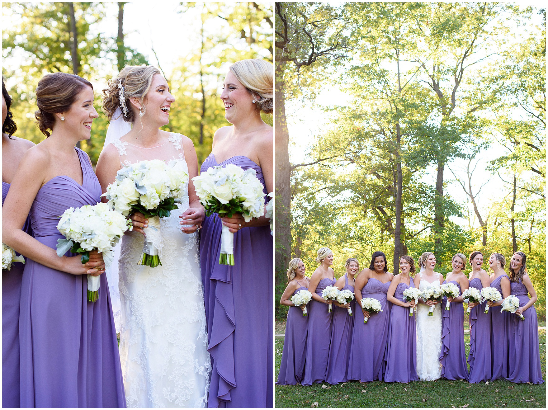 Bridesmaids laugh while posing for portraits during a Glen Club Glenview Illinois wedding.