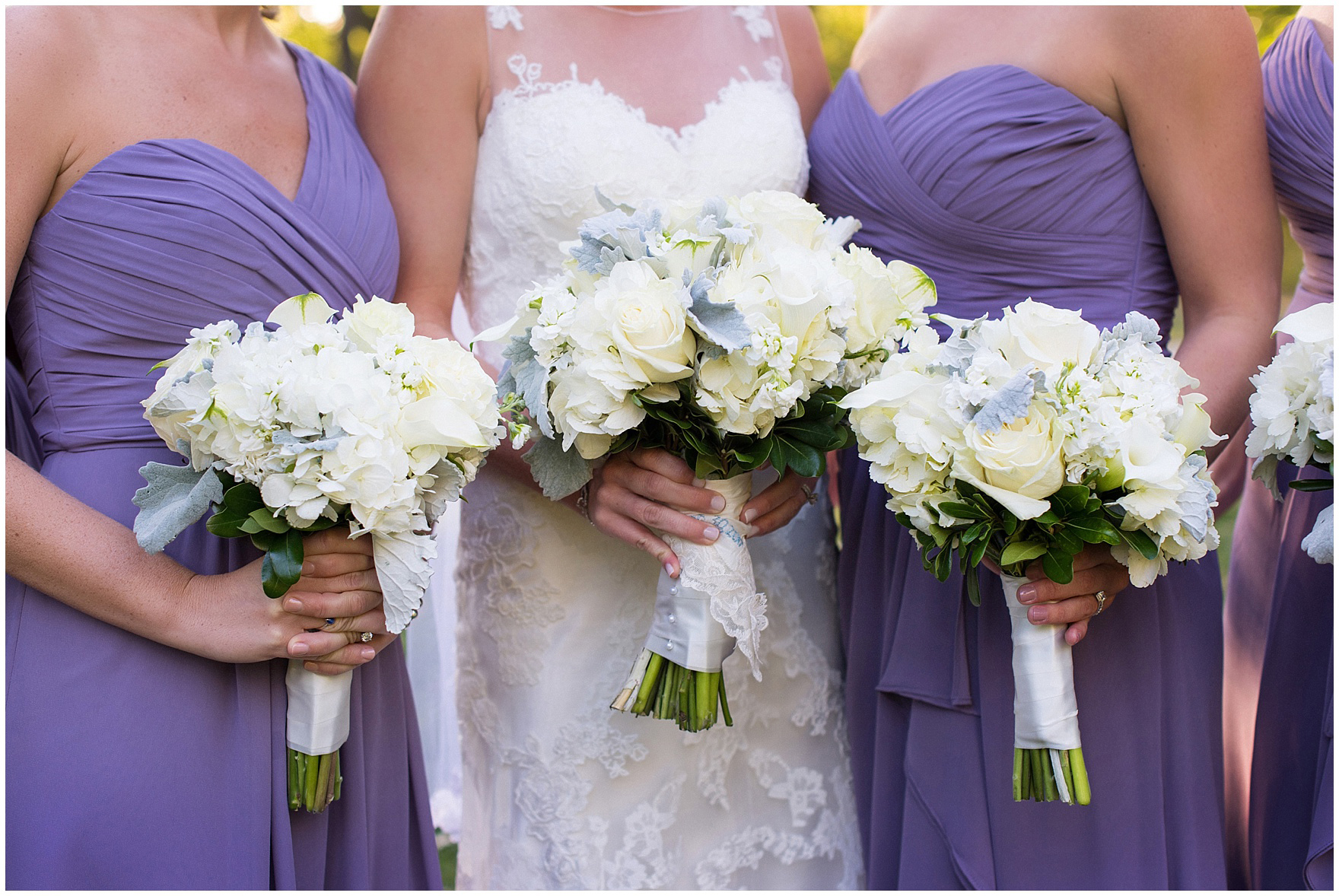 Detail of bouquets during a Glen Club Glenview Illinois wedding.
