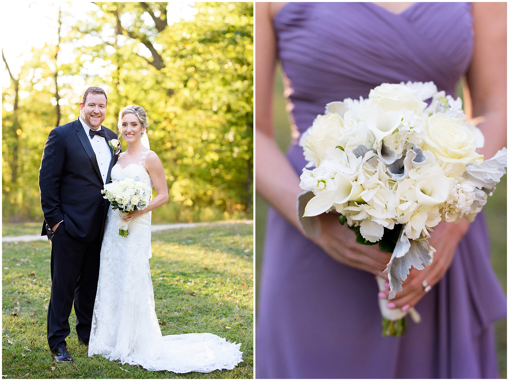 Detail of a bridesmaid's bouquet during a Glen Club Glenview Illinois wedding.