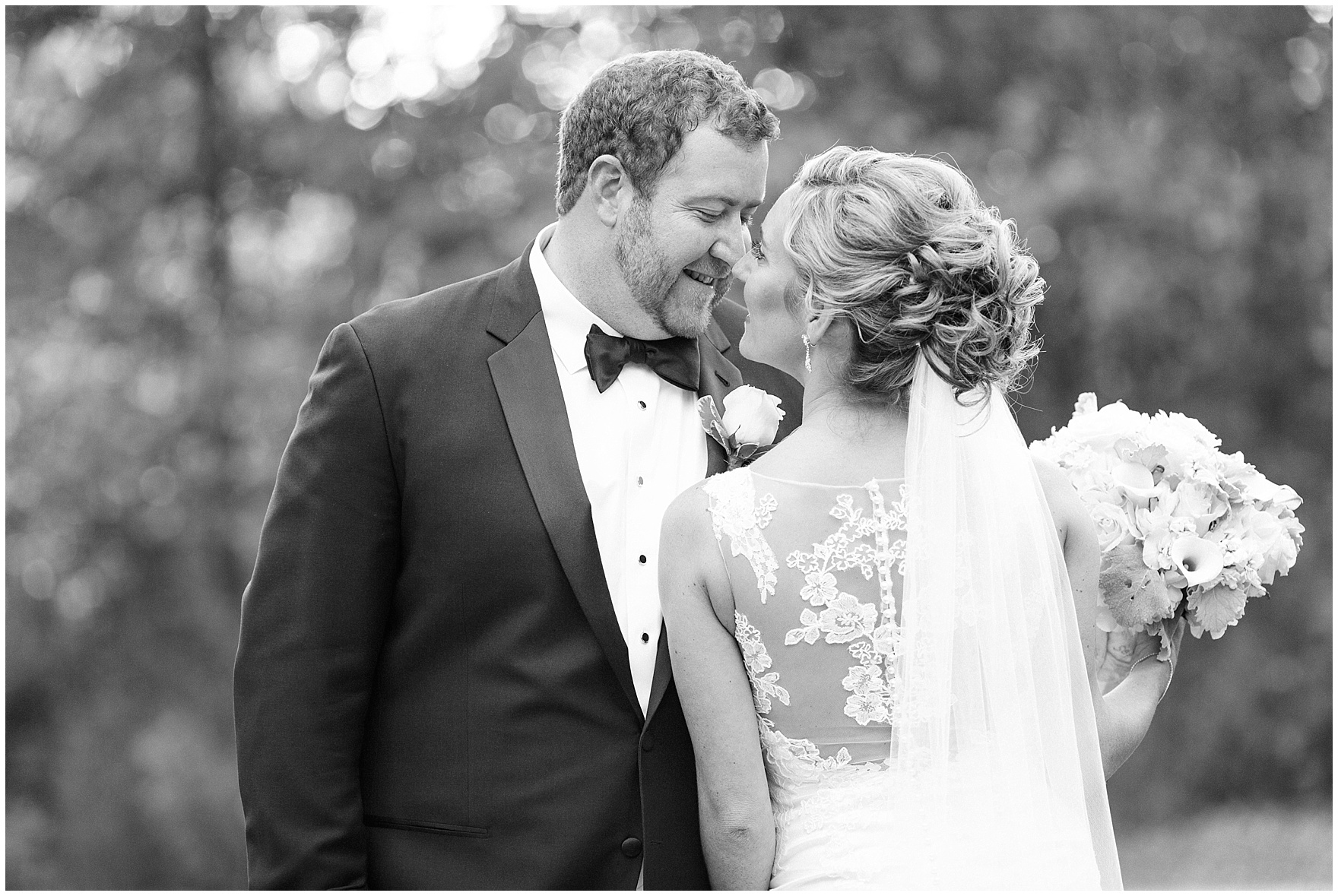 A black and white portrait of the bride and groom during a Glen Club Glenview Illinois wedding.