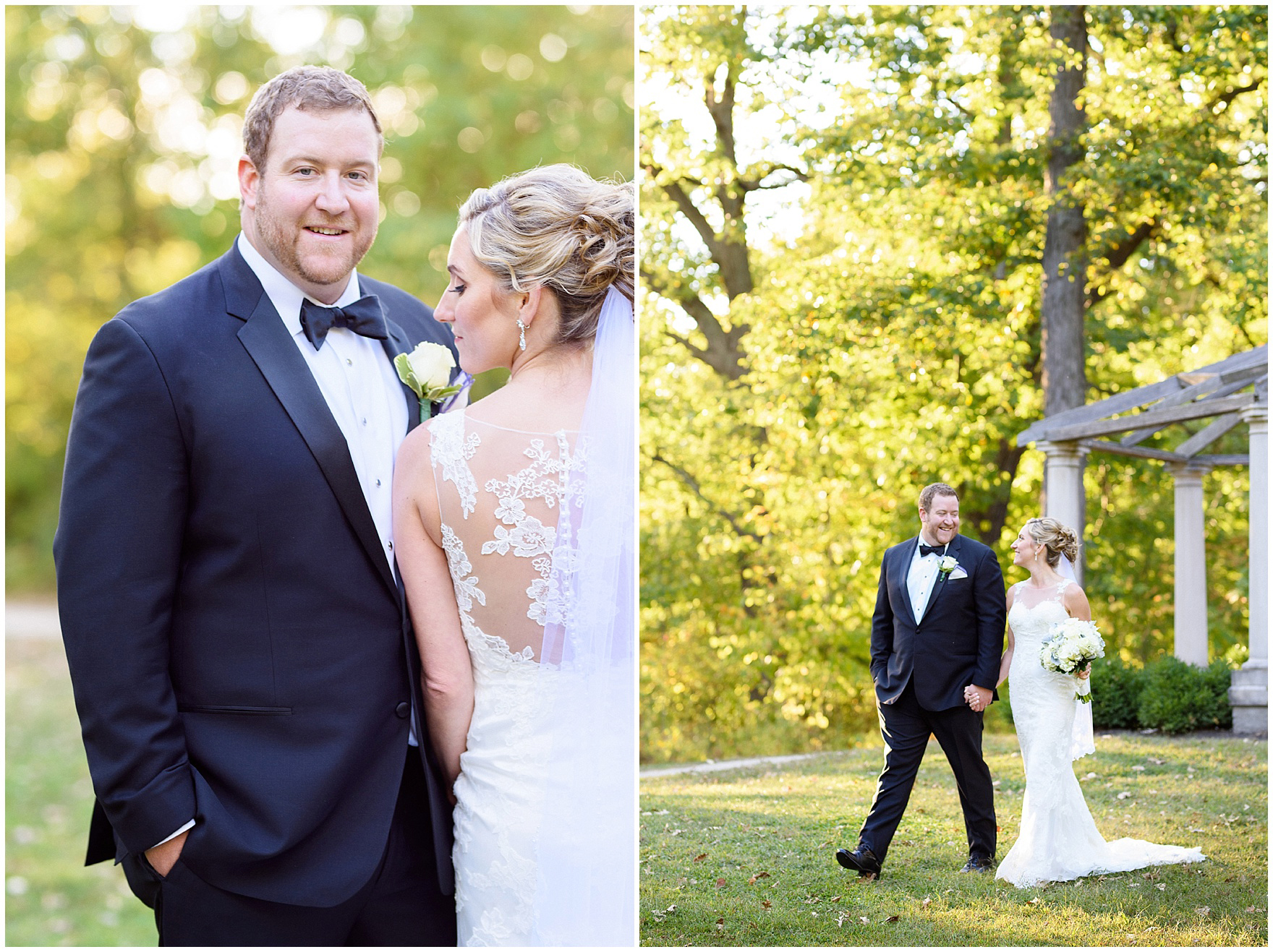 The bride and groom pose for portraits during a Glen Club Glenview Illinois wedding.
