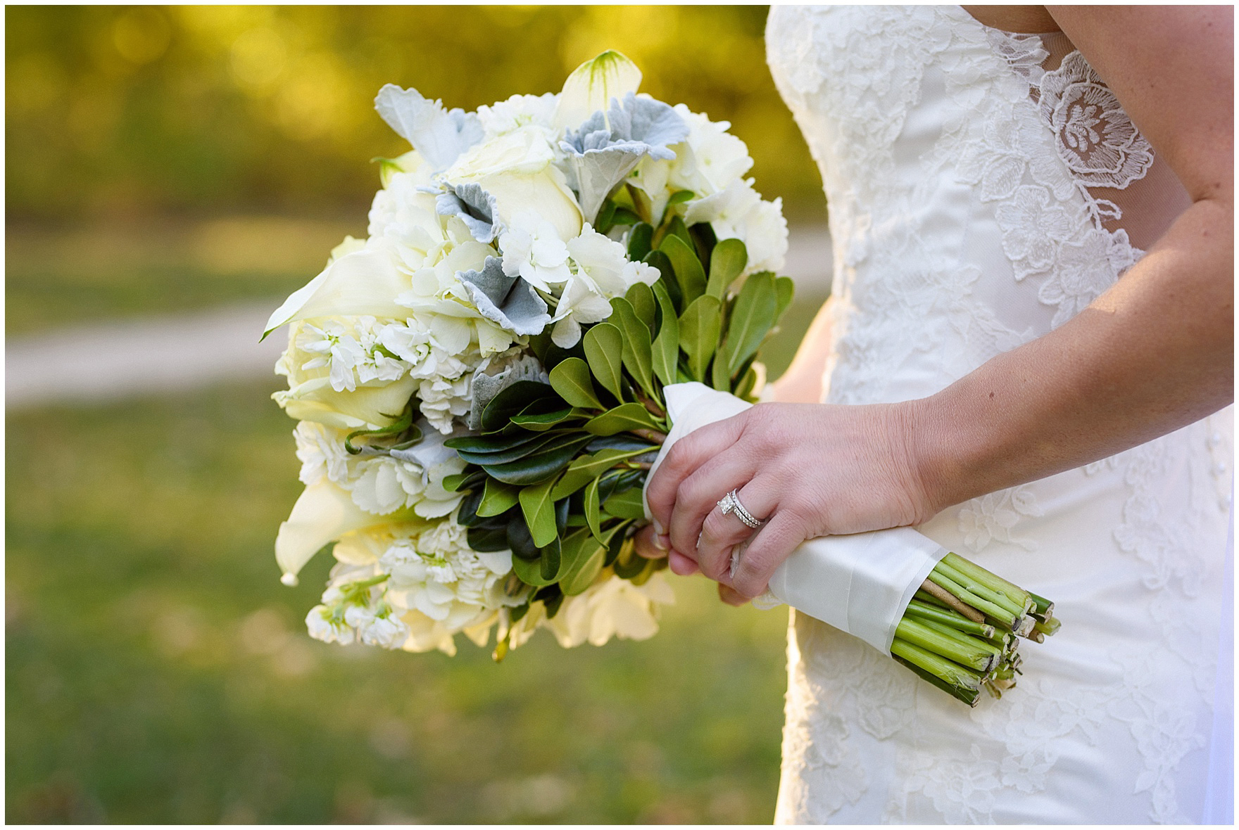 Detail of the bride's bouquet during a Glen Club Glenview Illinois wedding.