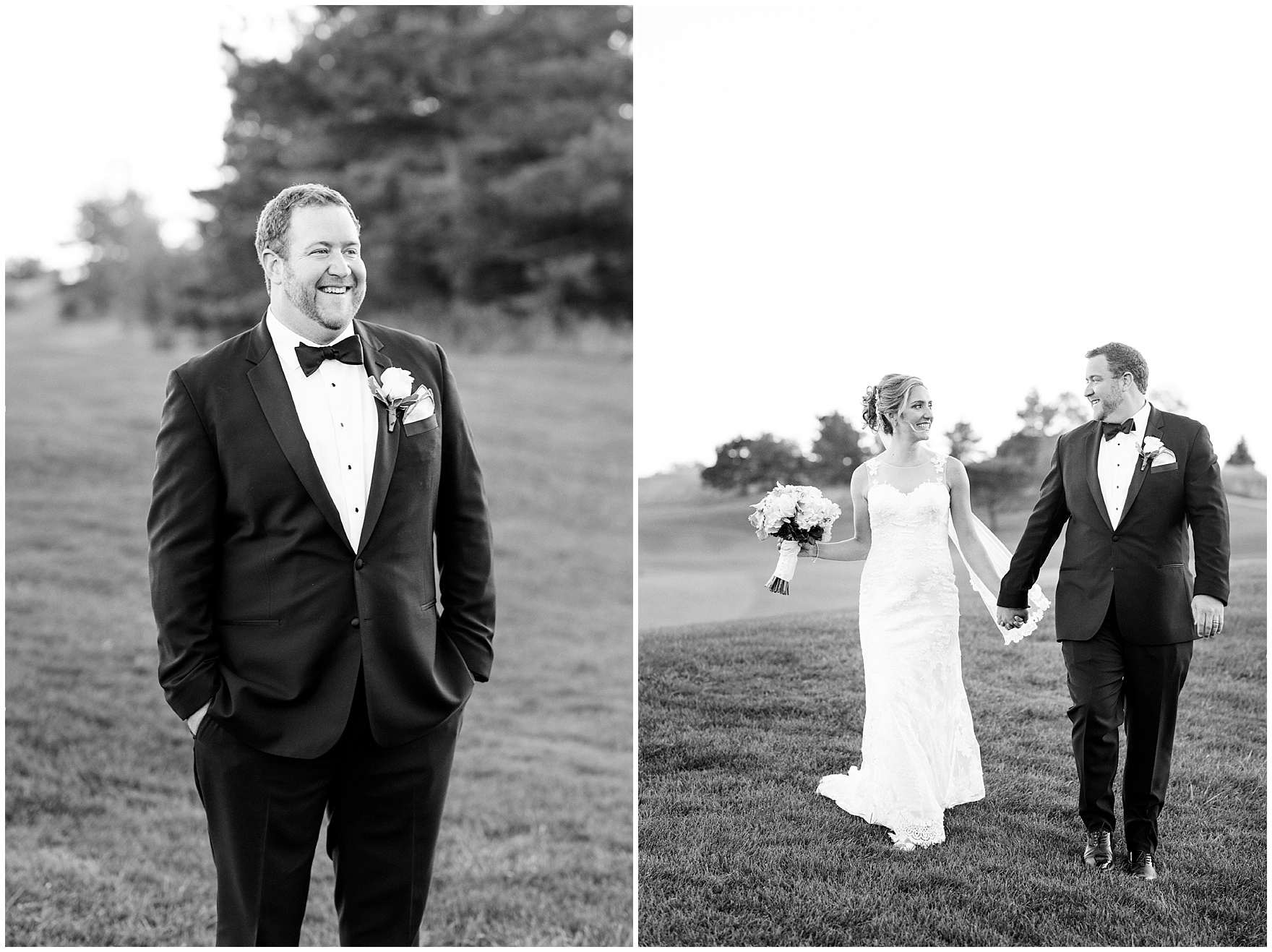 The bride and groom pose for portraits at twilight during a Glen Club Glenview Illinois wedding.