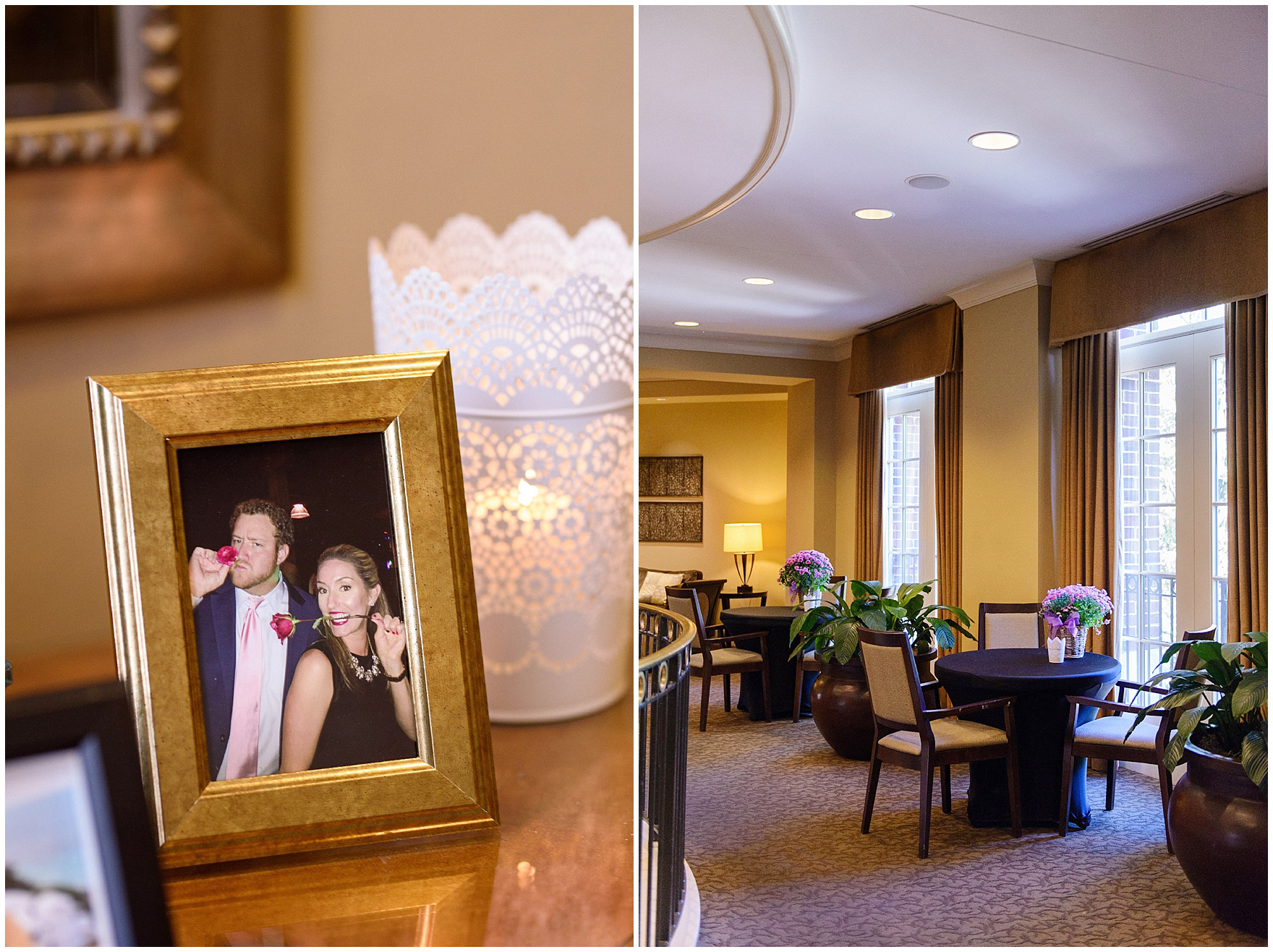 Framed photos and flowers decorate the cocktail space for a Glen Club Glenview Illinois wedding.