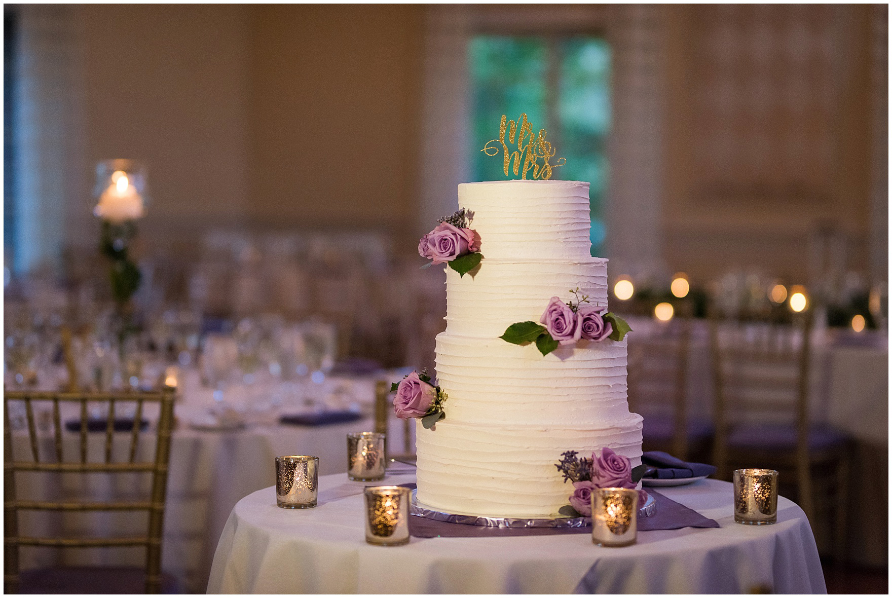 Details of a tiered wedding cake with lavender roses for a Glen Club Glenview Illinois wedding.