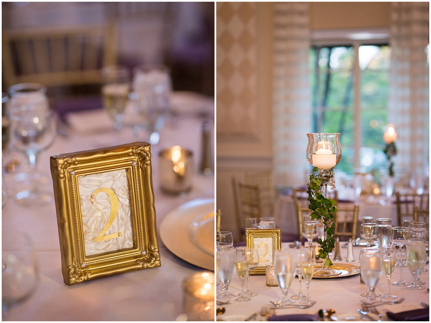 Gold table numbers and ivy decorate tables for a Glen Club Glenview Illinois wedding.