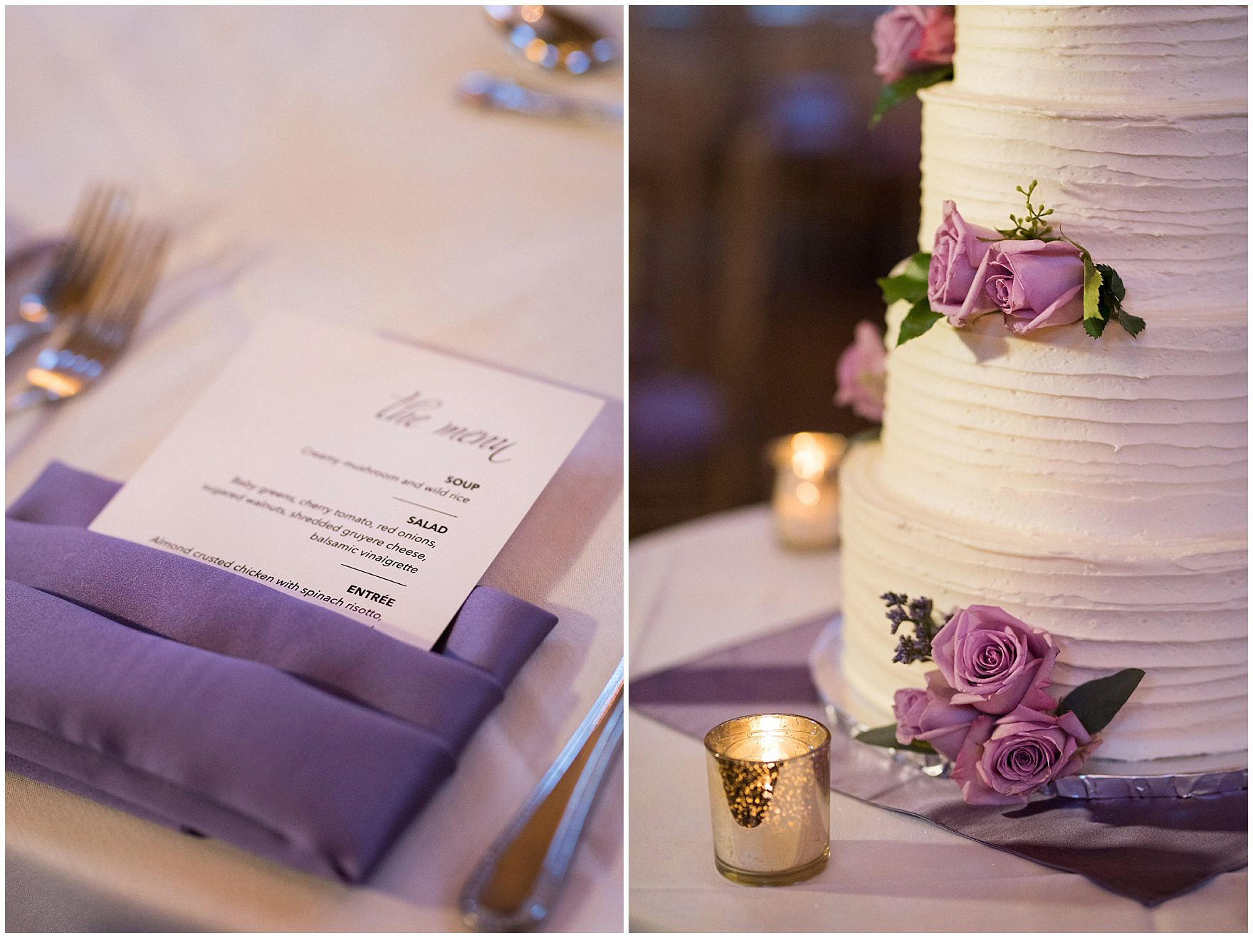 Details of the menu and wedding cake for a Glen Club Glenview Illinois wedding.