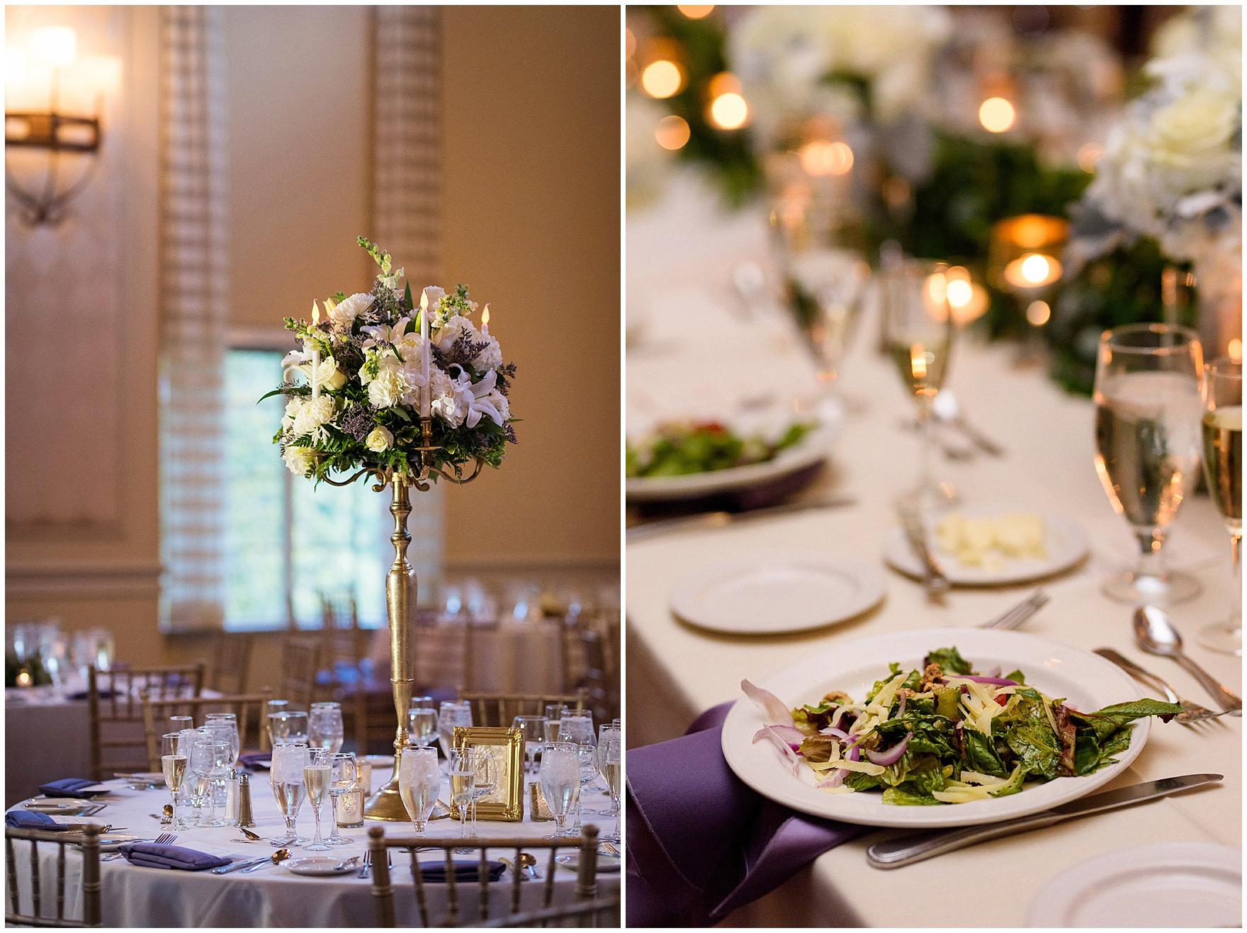 Details of the centerpieces and table settings for a Glen Club Glenview Illinois wedding.