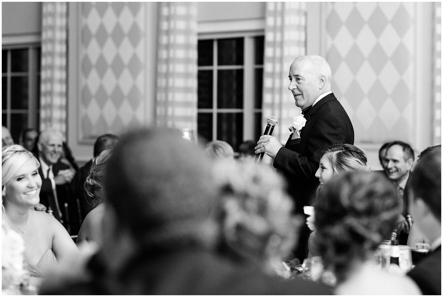 The bride's father gives a toast during a Glen Club Glenview Illinois wedding.