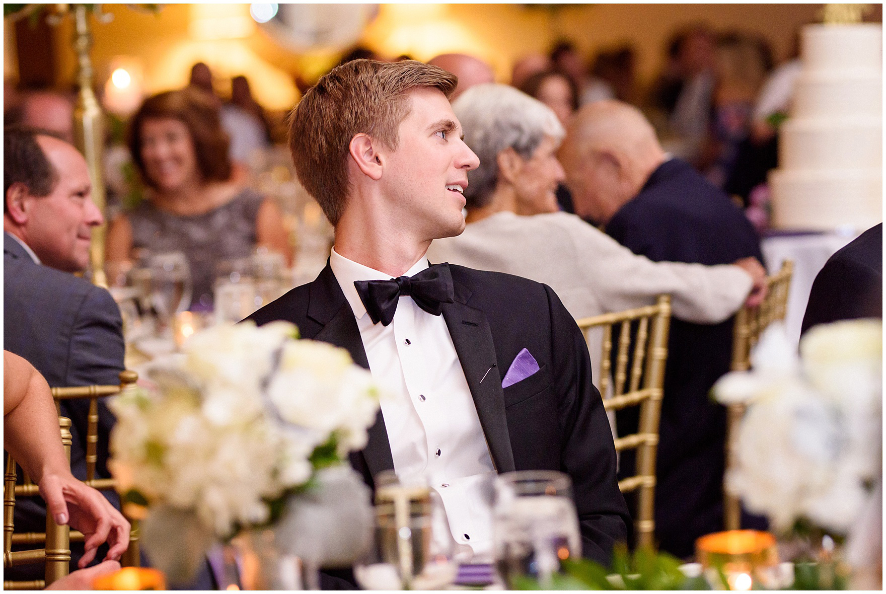 Guests listen to a toast during a Glen Club Glenview Illinois wedding.