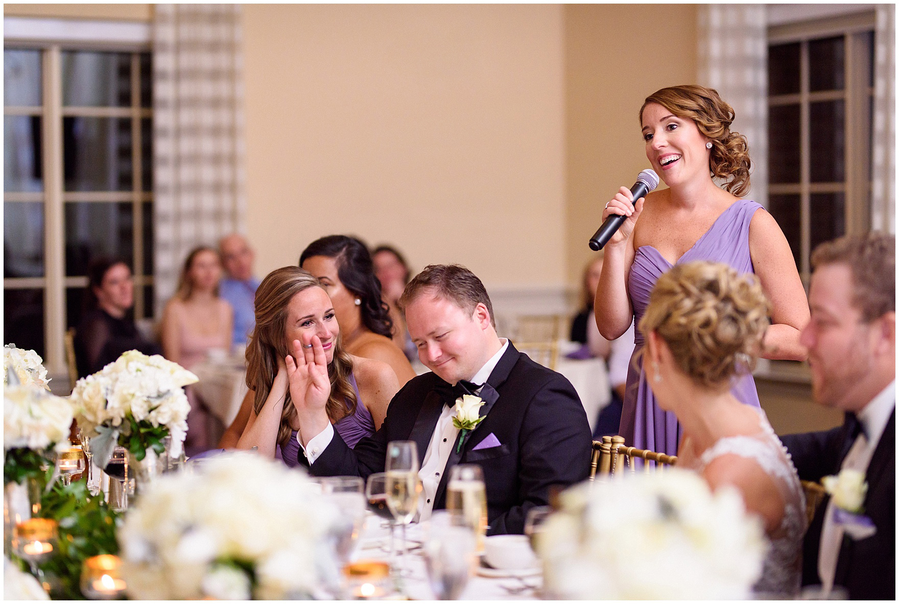 The maid of honor gives a toast during a Glen Club Glenview Illinois wedding.