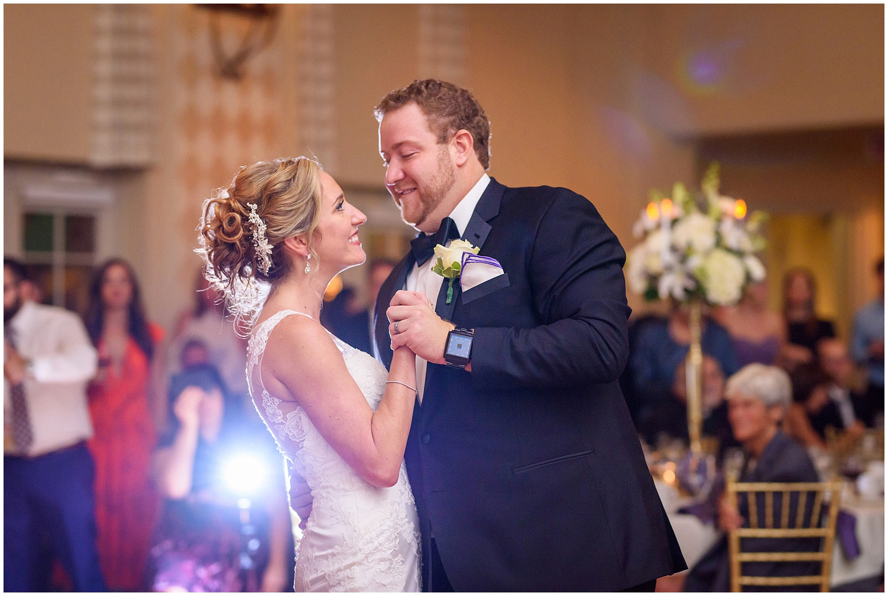 The bride and groom share their first dance during a Glen Club Glenview Illinois wedding.