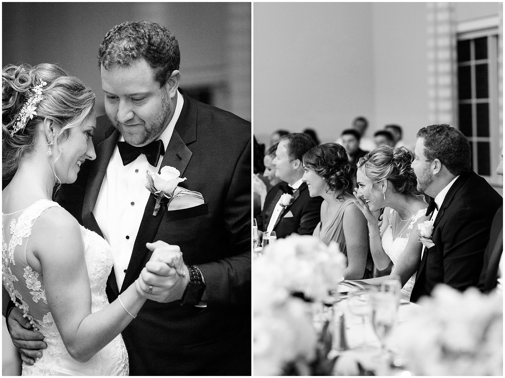 The bride and groom listen to toasts during a Glen Club Glenview Illinois wedding.