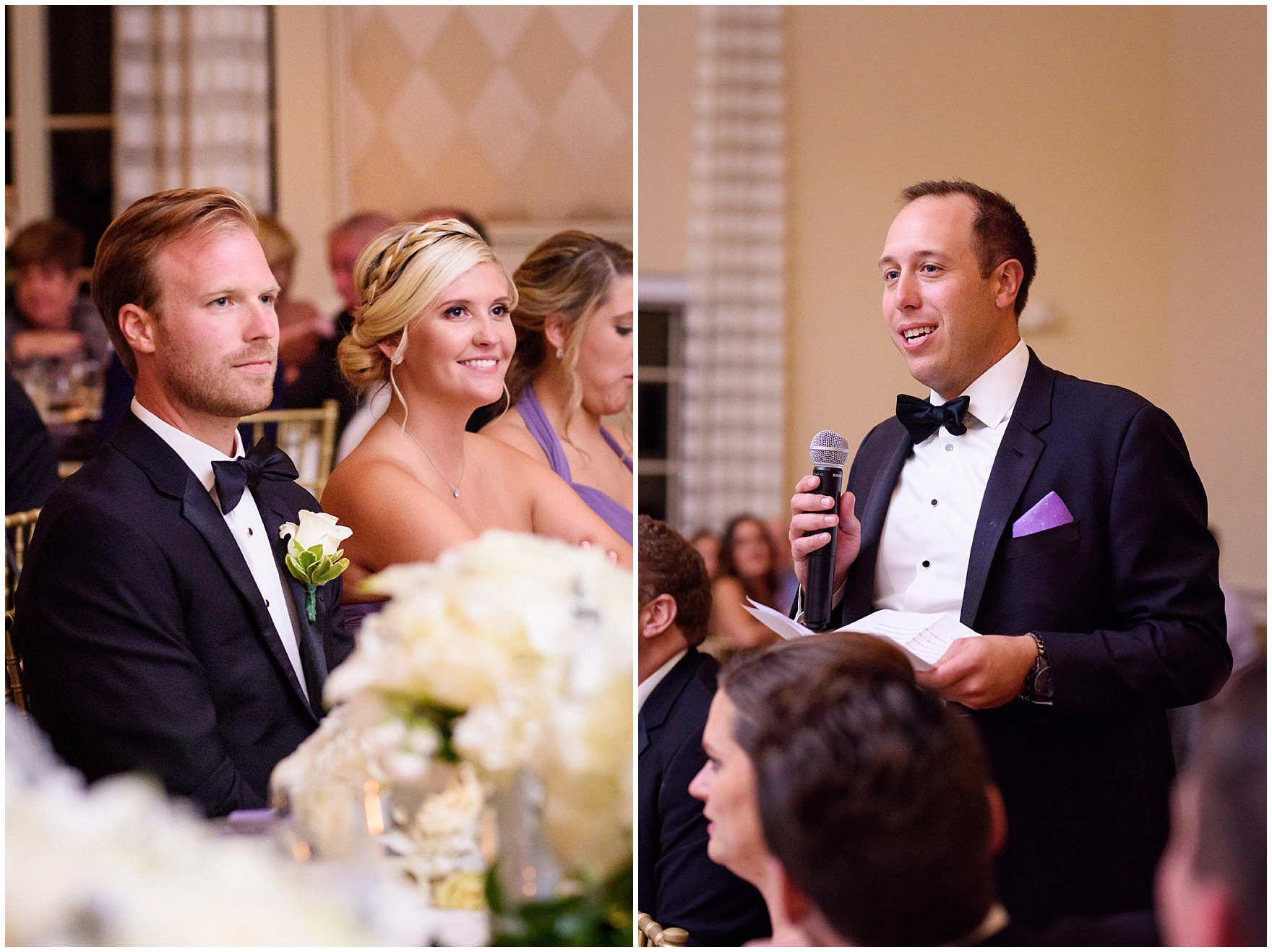 The best man gives a speech during a Glen Club Glenview Illinois wedding.