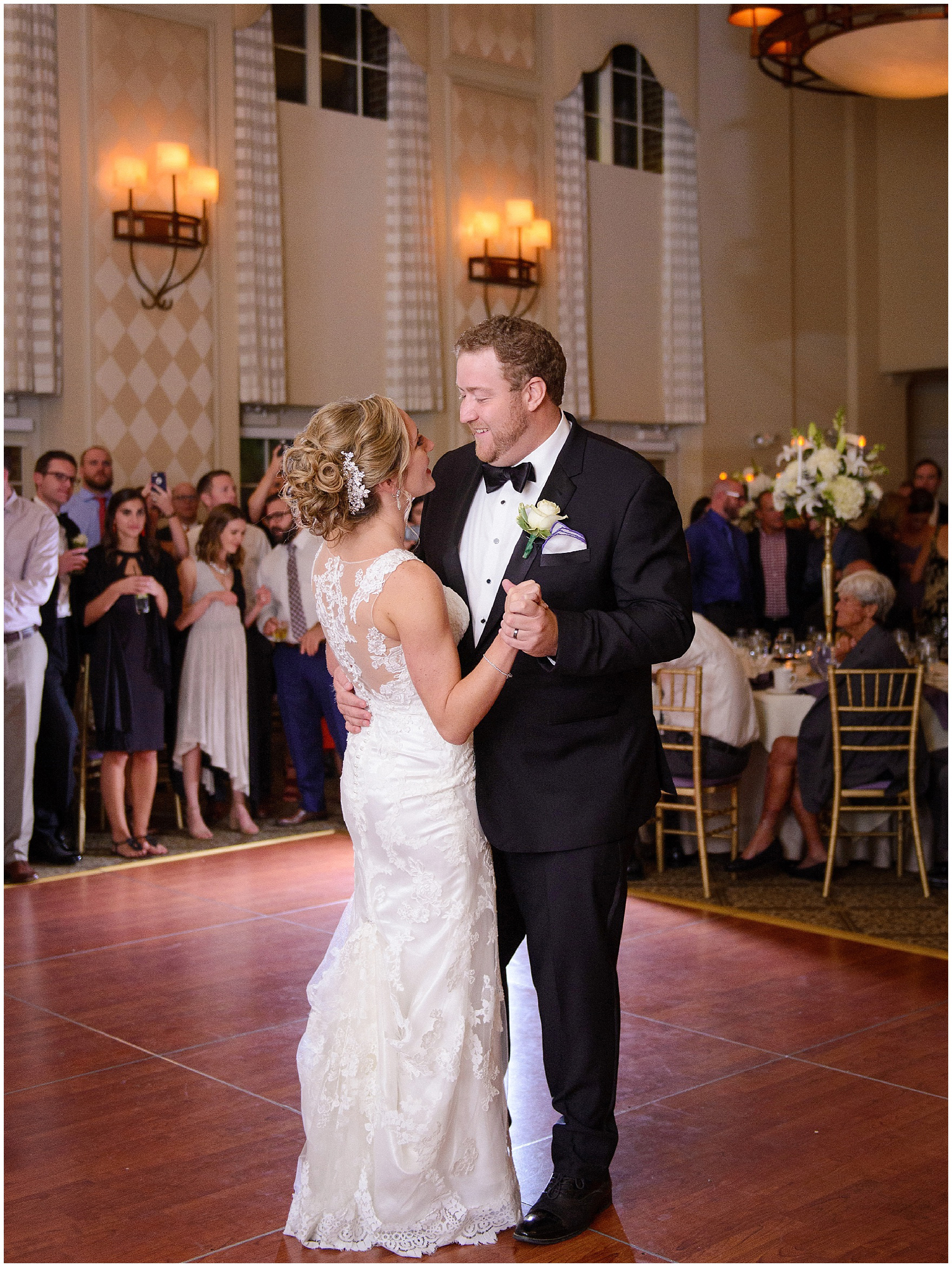 The bride and groom dance during a Glen Club Glenview Illinois wedding.