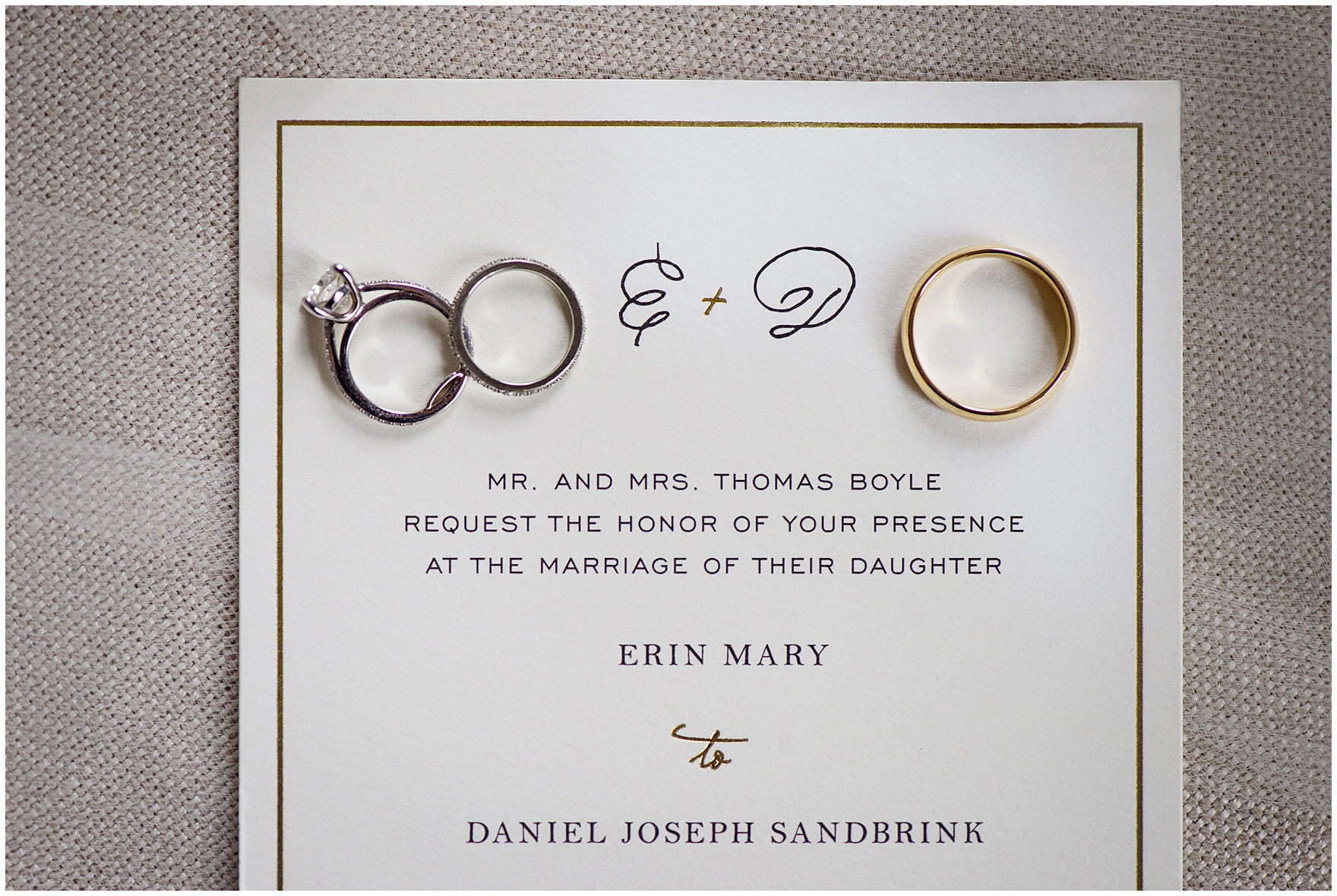 Close up of wedding rings on an invitation for a St. Clement Germania Place Chicago wedding.