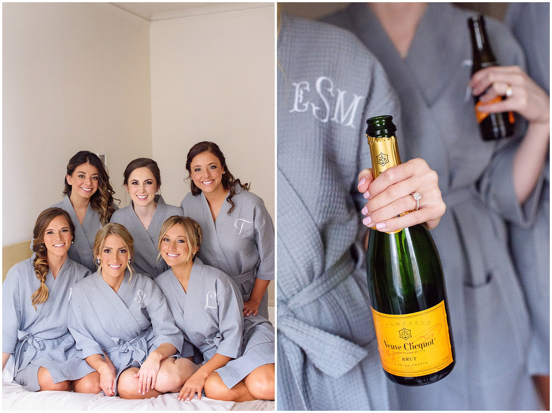 A bride and her bridesmaids drink champagne in matching robes at the Ambassador Hotel before a St. Clement Germania Place Chicago wedding.