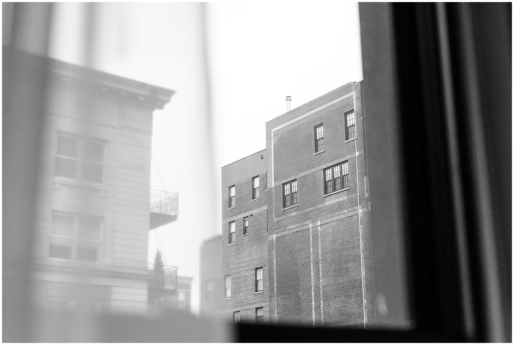 View from the window of the Ambassador Hotel before a St. Clement Germania Place Chicago wedding.